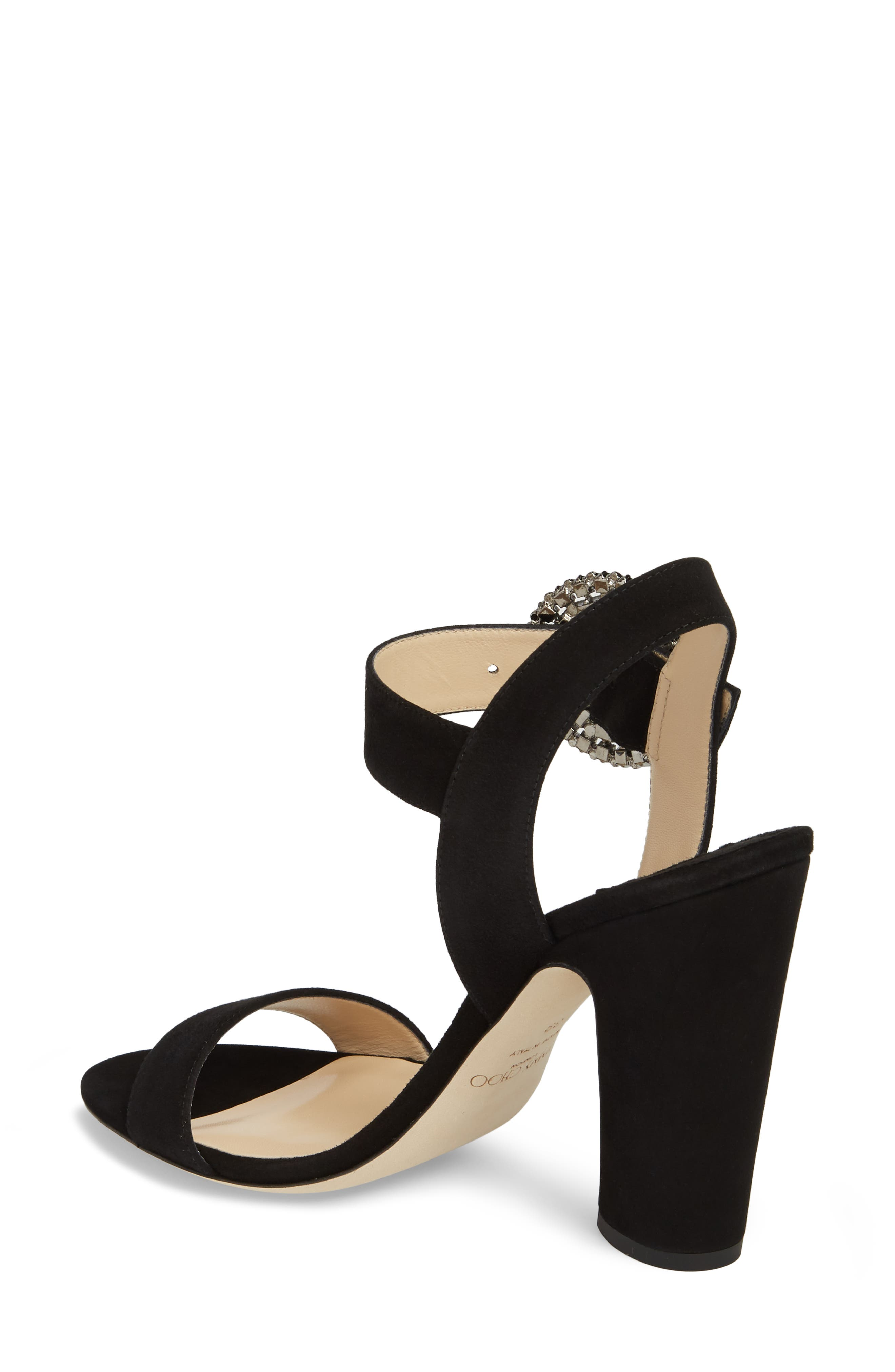 Mischa Crystal Buckle Sandal,                             Alternate thumbnail 2, color,                             Black