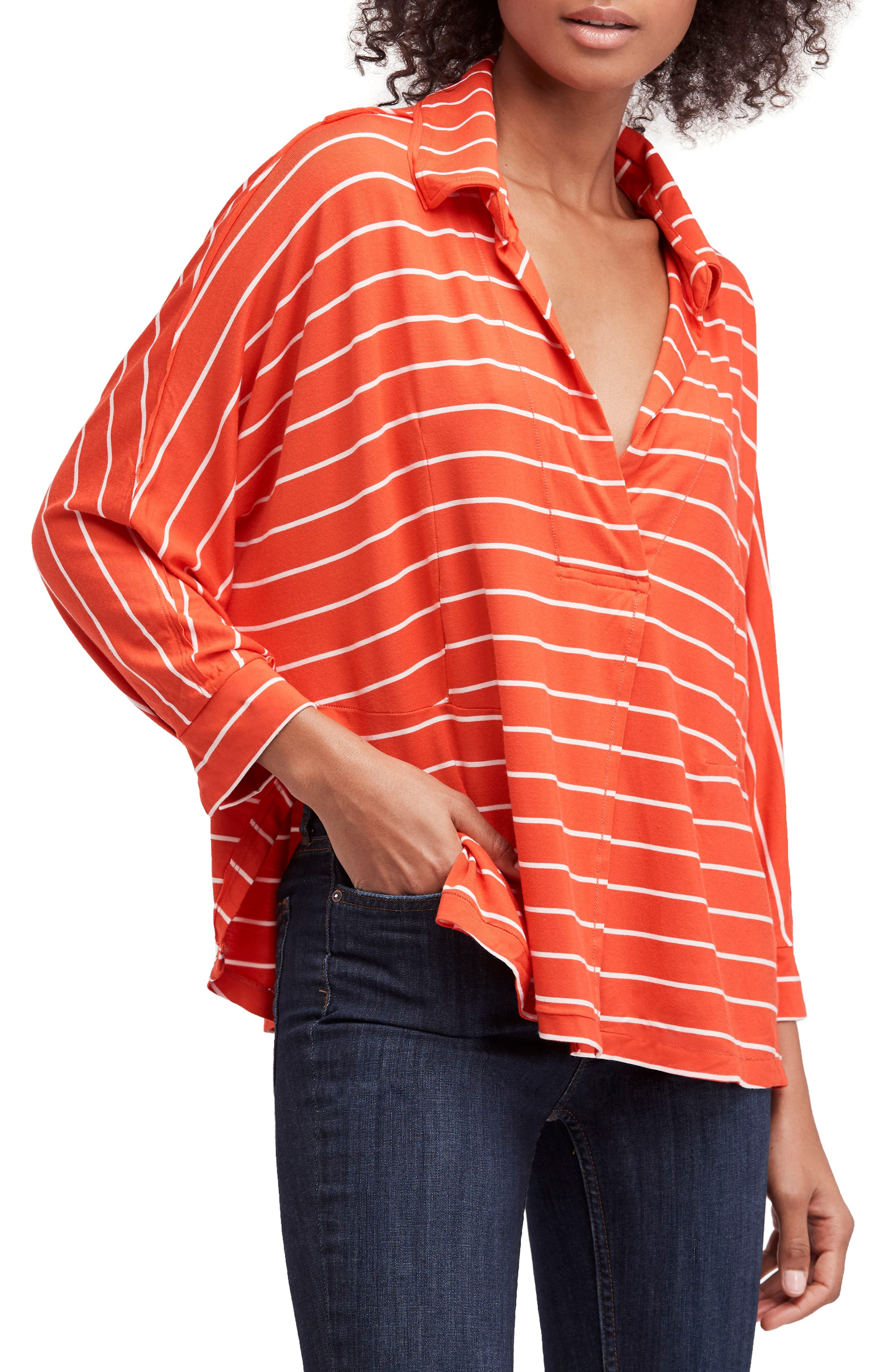 Can't Fool Me Stripe Top,                         Main,                         color, Red