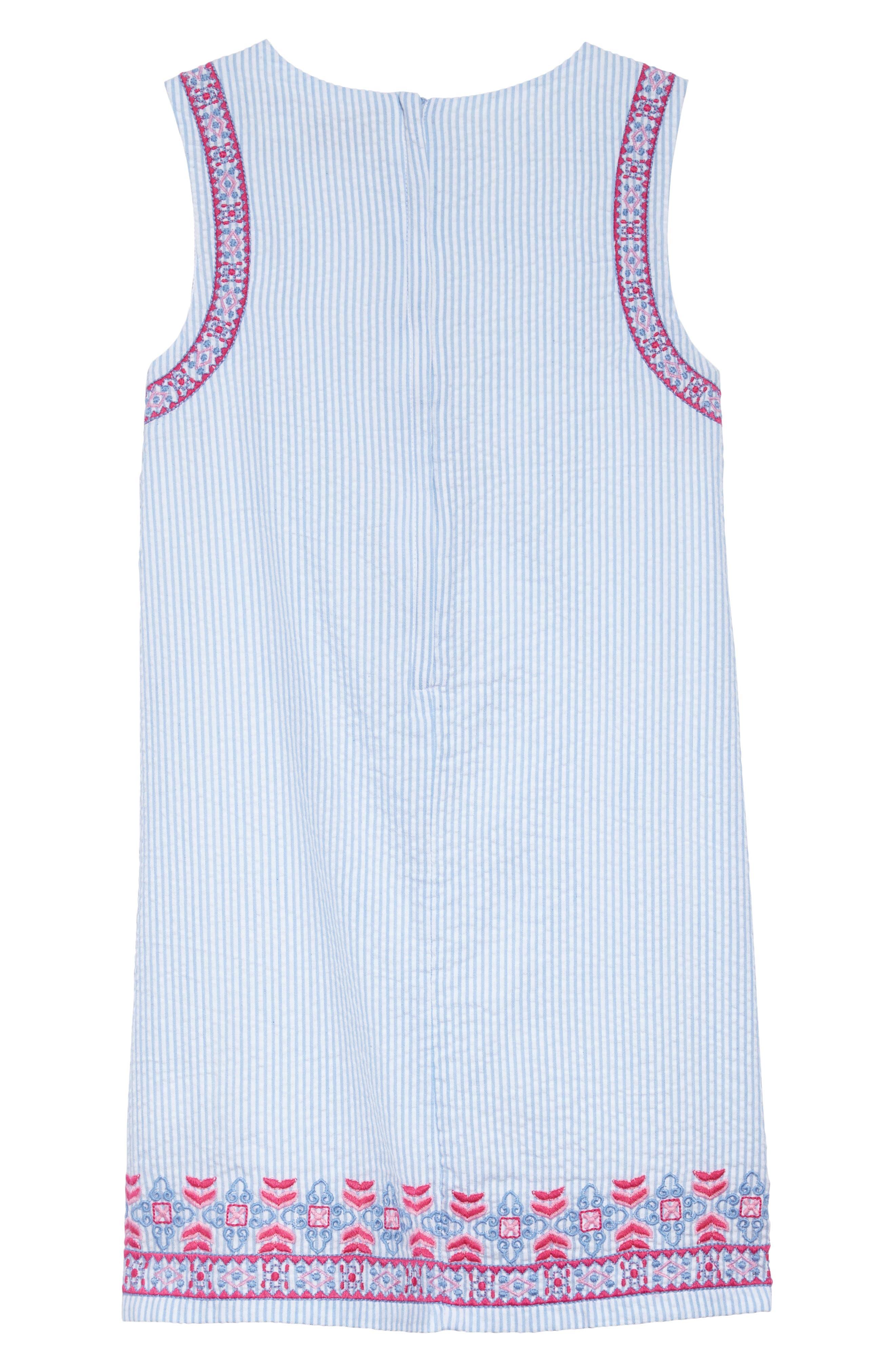 Embroidered Seersucker Shift Dress,                             Alternate thumbnail 2, color,                             Ocean Breeze