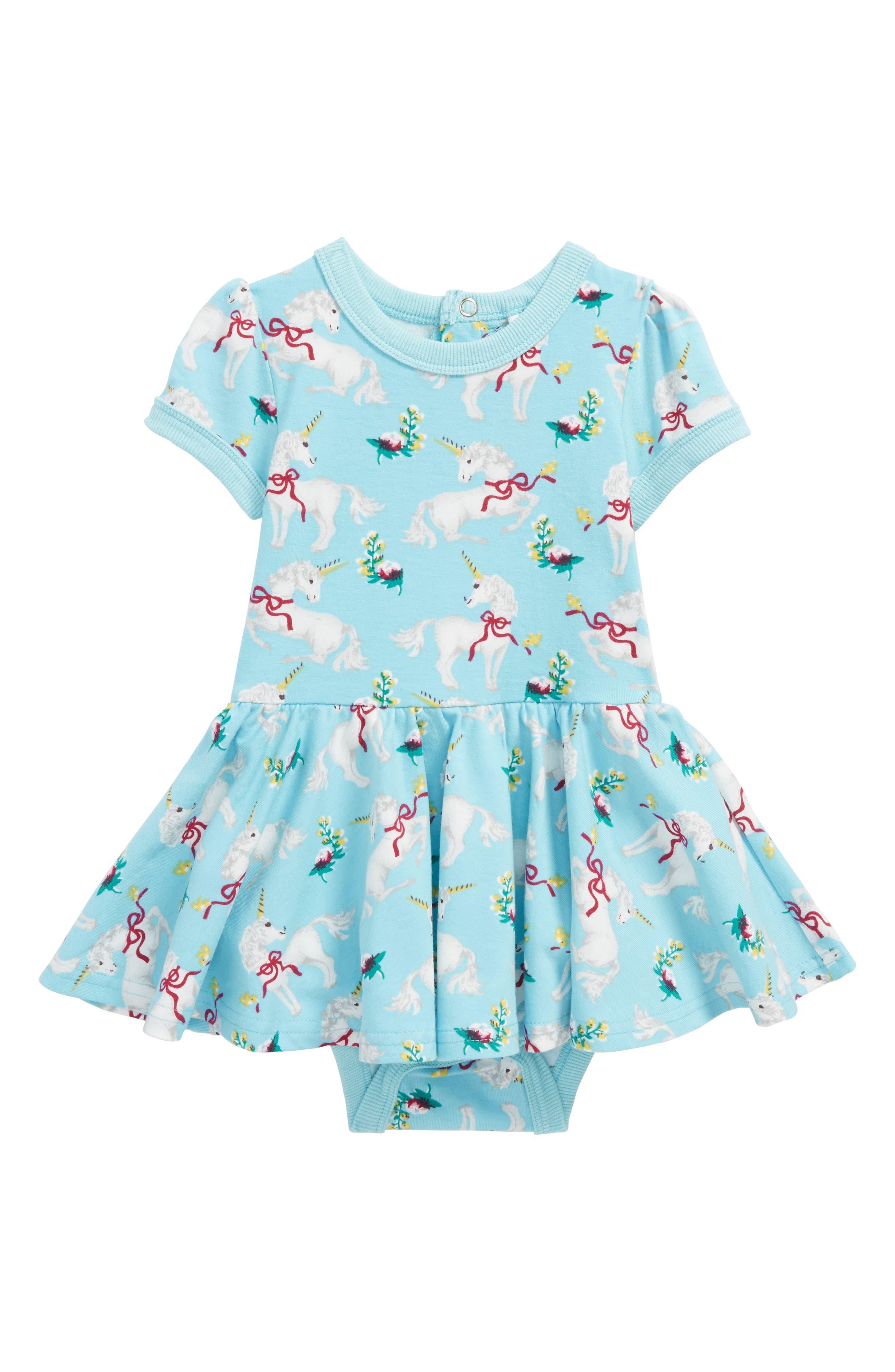 Rock Your Baby Unicorn Skirted Bodysuit (Baby Girls)