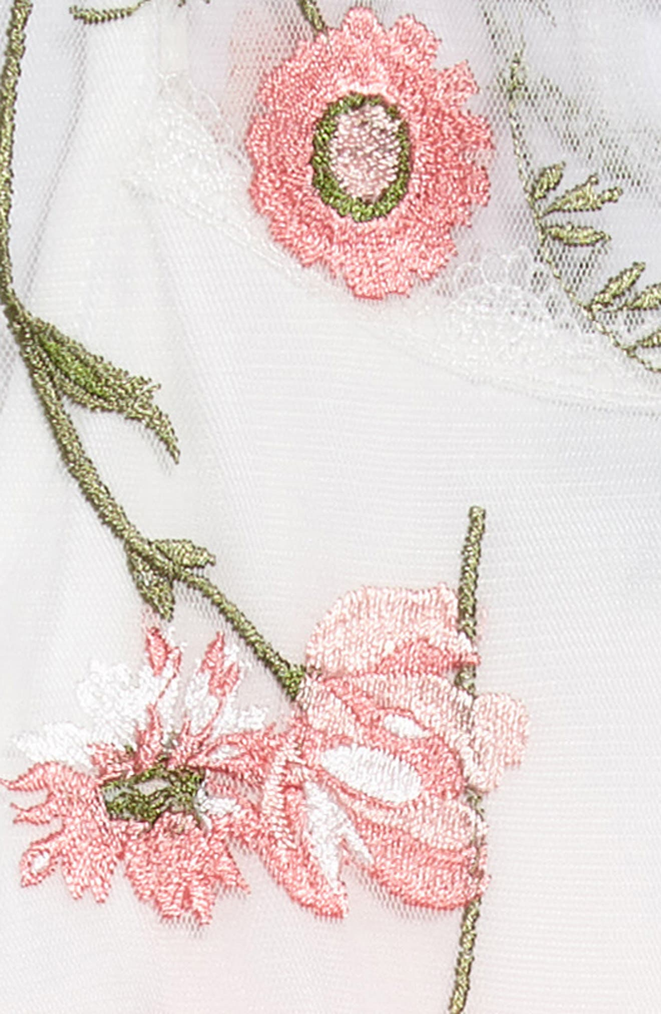 Embroidered Flower Dress,                             Alternate thumbnail 3, color,                             White/ Coral