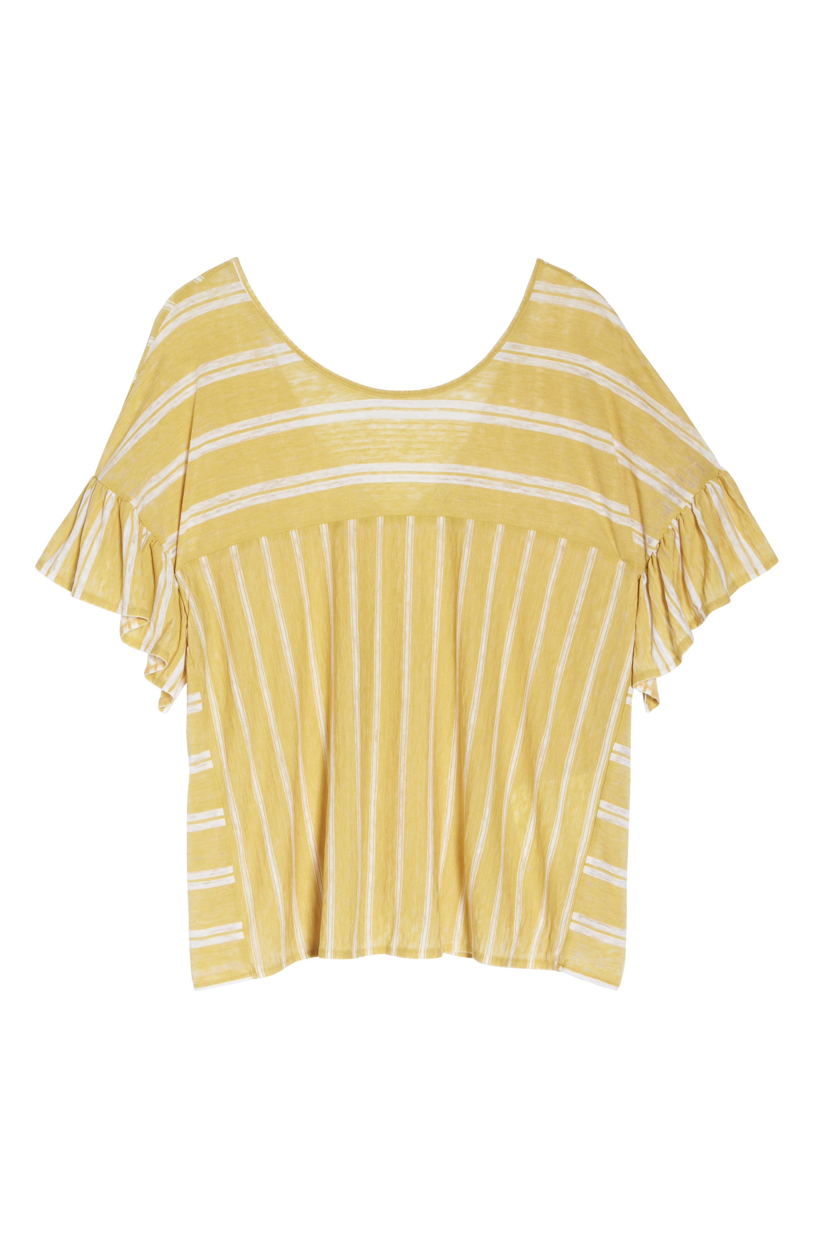 Ruffle Sleeve Mix Stripe Ruffle Tee,                             Alternate thumbnail 6, color,                             Yellow
