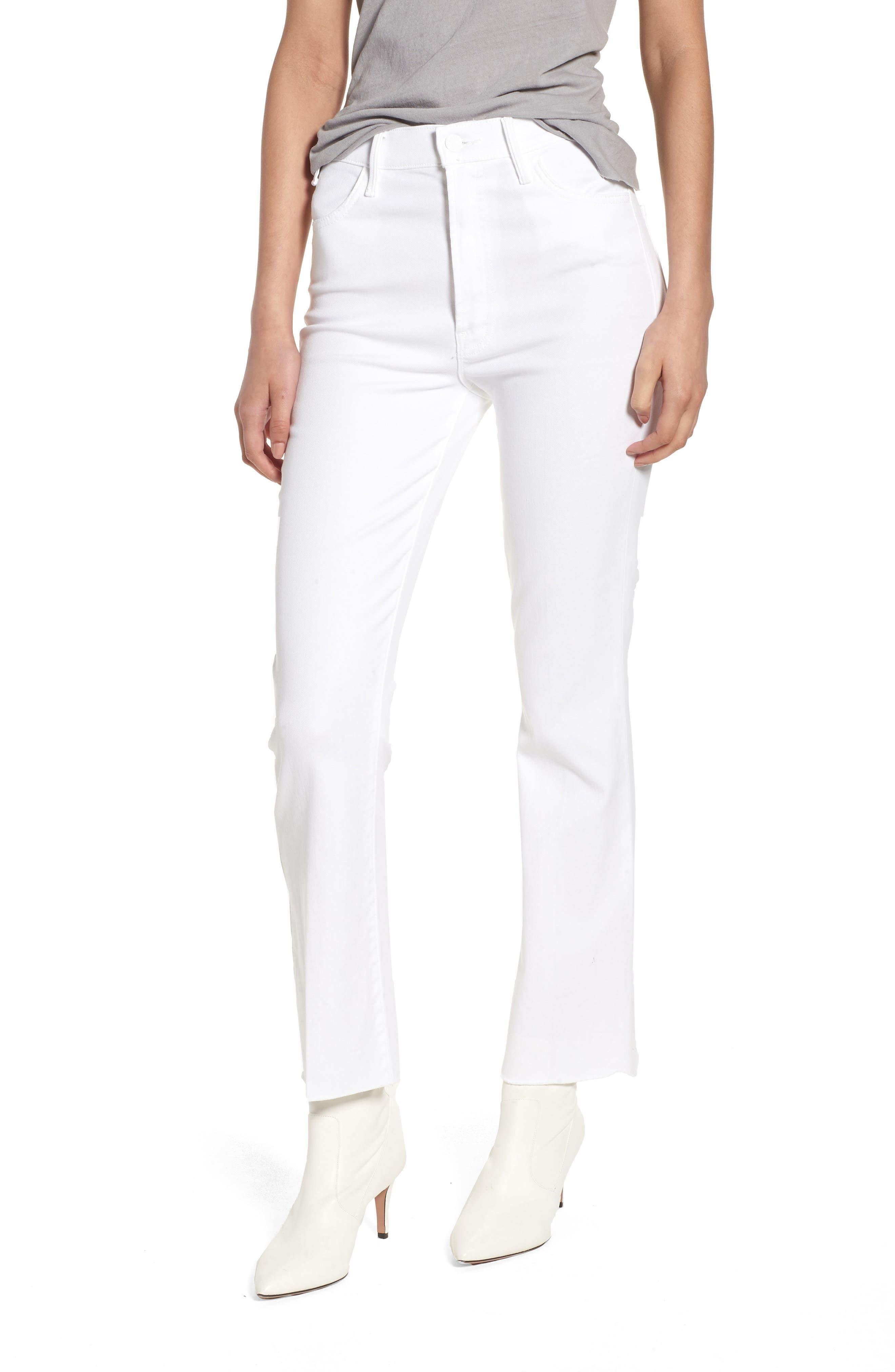 Alternate Image 1 Selected - MOTHER The Hustler Fray Ankle Bootcut Jeans (Glass Slipper)
