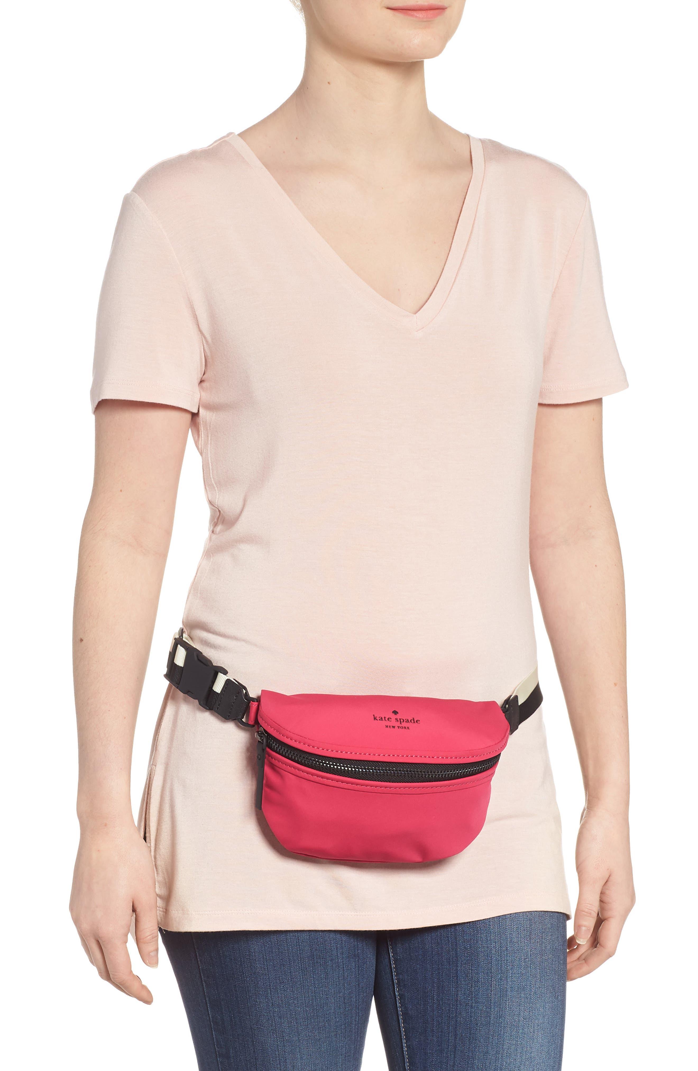 that's the spirit mini nylon fanny pack,                             Alternate thumbnail 3, color,                             Kinetic Pink