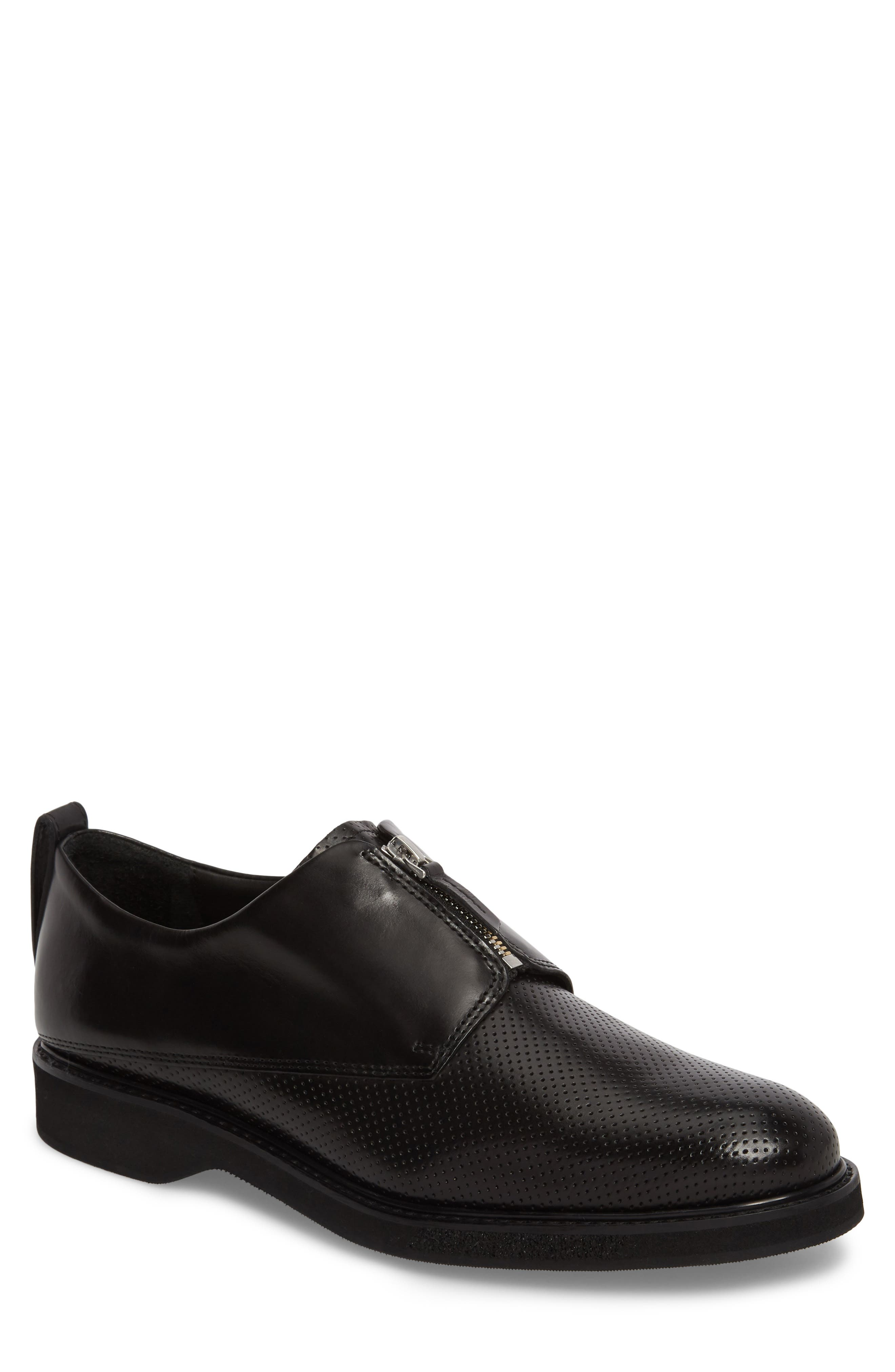 Zipped Derby Shoe,                             Main thumbnail 1, color,                             Multi Perforated Black/ Black