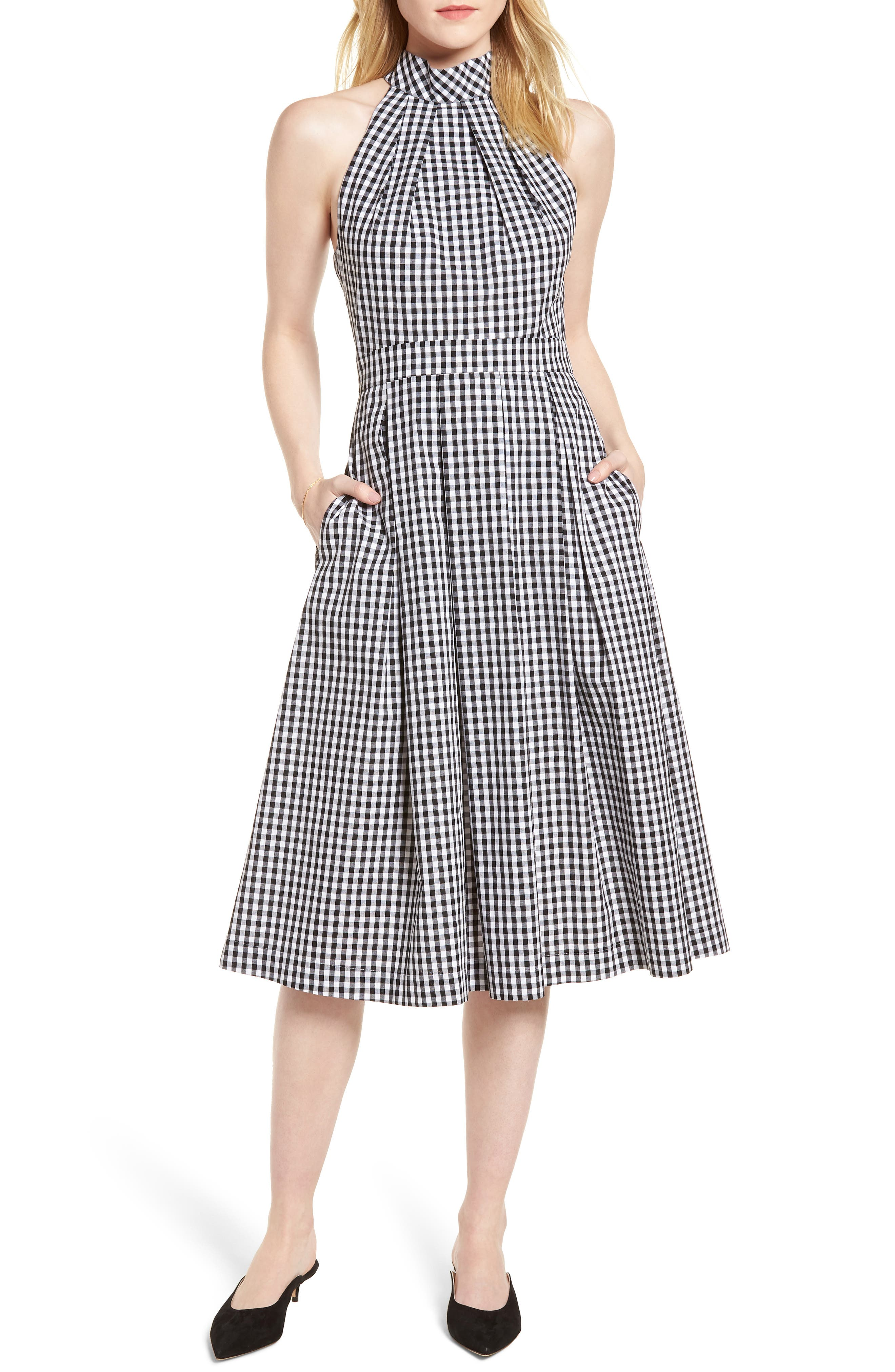 Gingham Halter Dress,                             Main thumbnail 1, color,                             Black- White Gingham