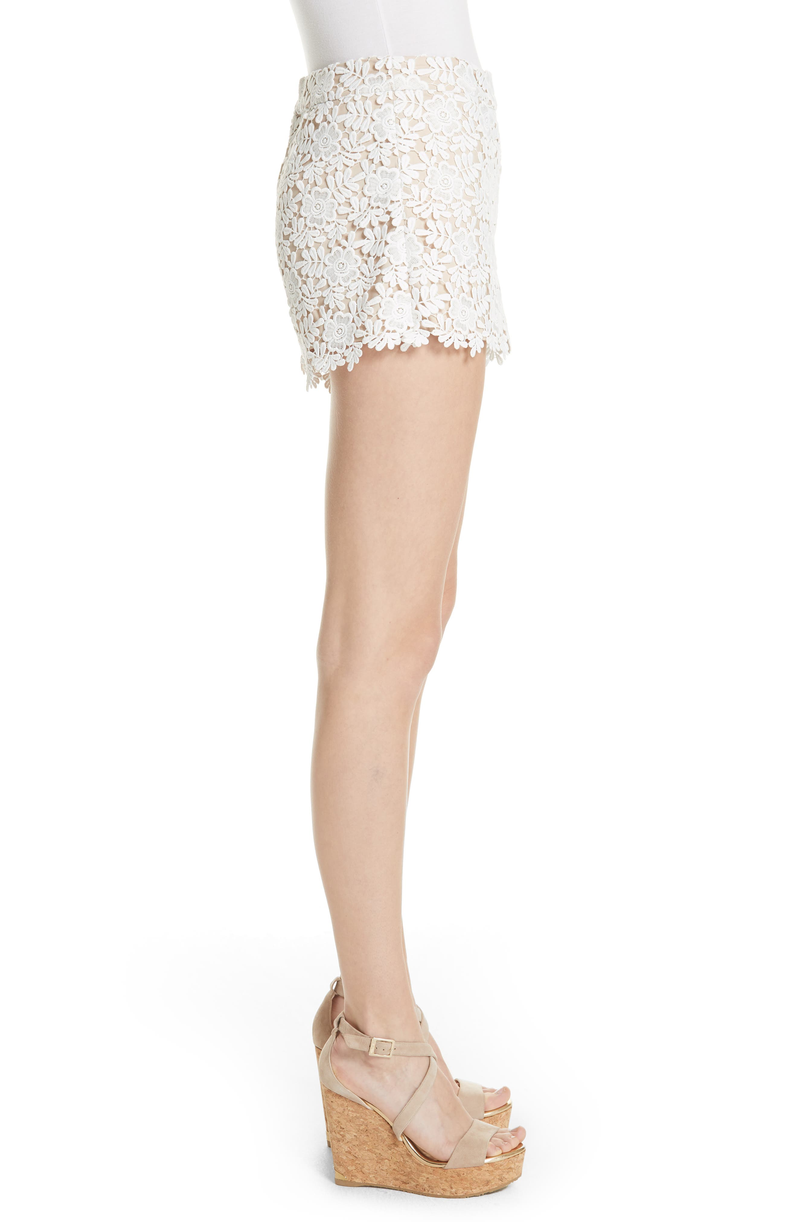 Marisa Floral Lace Shorts,                             Alternate thumbnail 3, color,                             Off White/ Sesame