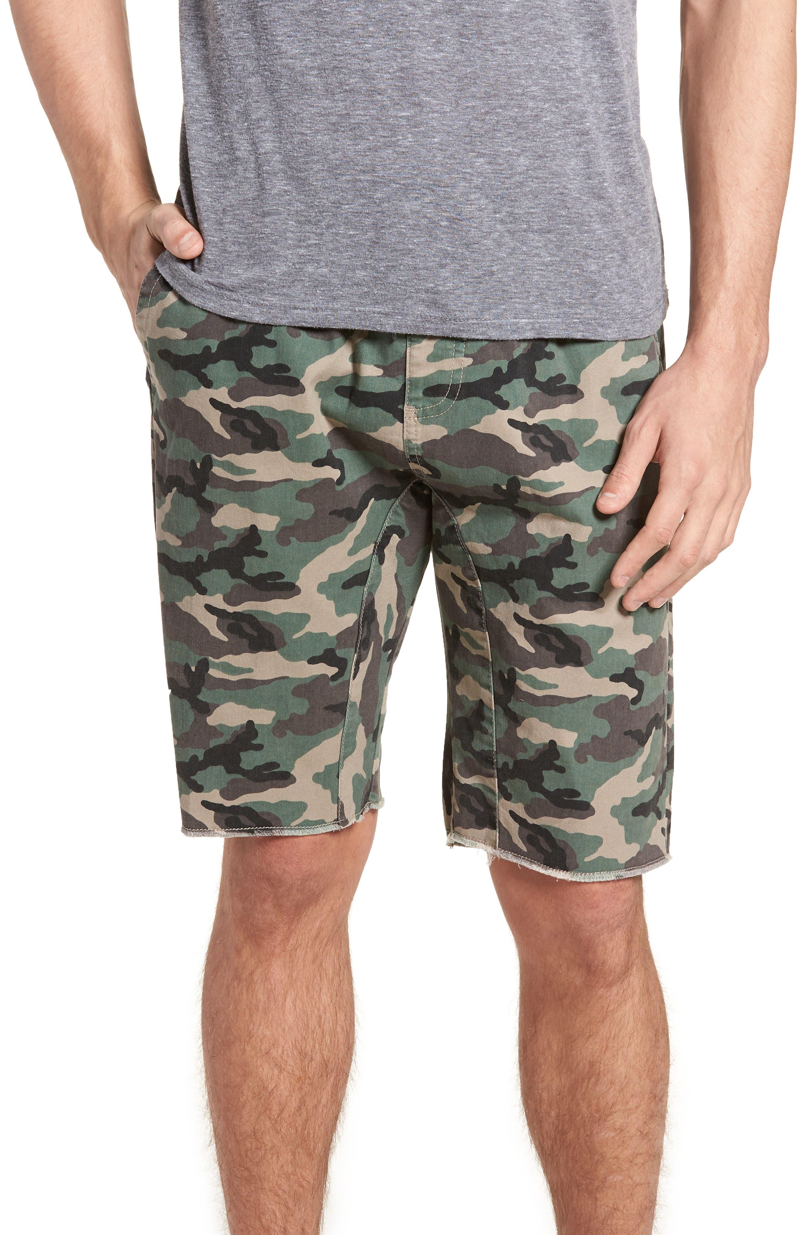 Camo Print Cutoff Twill Shorts,                             Main thumbnail 1, color,                             Brown Green Camo
