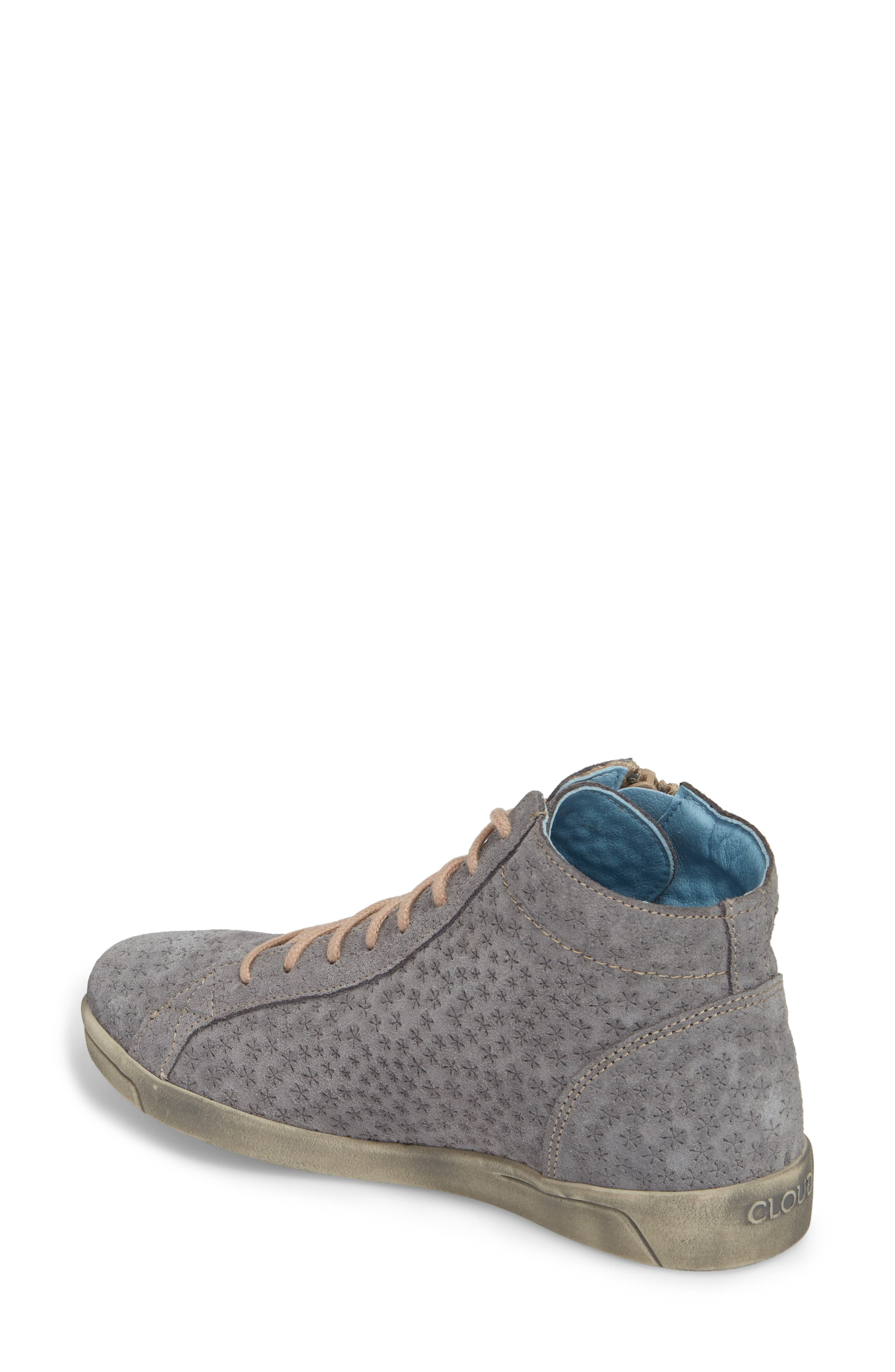 Aika Star Perforated High Top Sneaker,                             Alternate thumbnail 2, color,                             Grey Leather