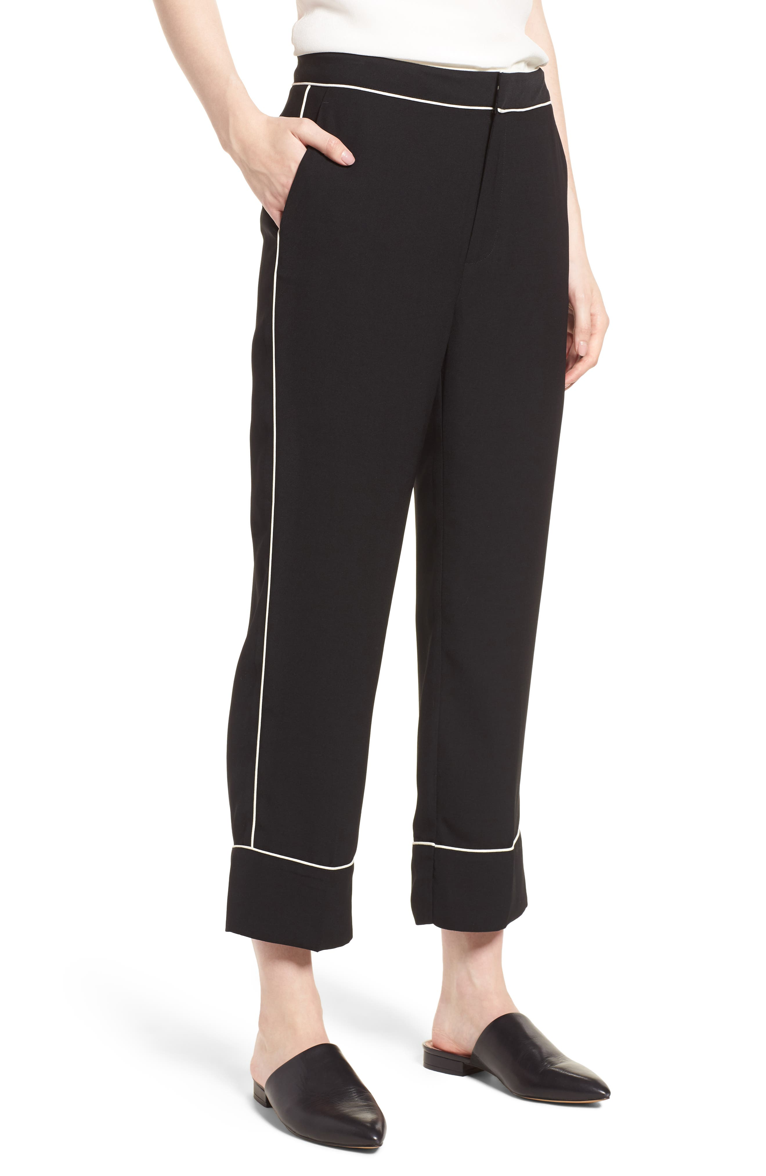 Ankle Pants,                             Main thumbnail 1, color,                             Black/ Bright White Piping