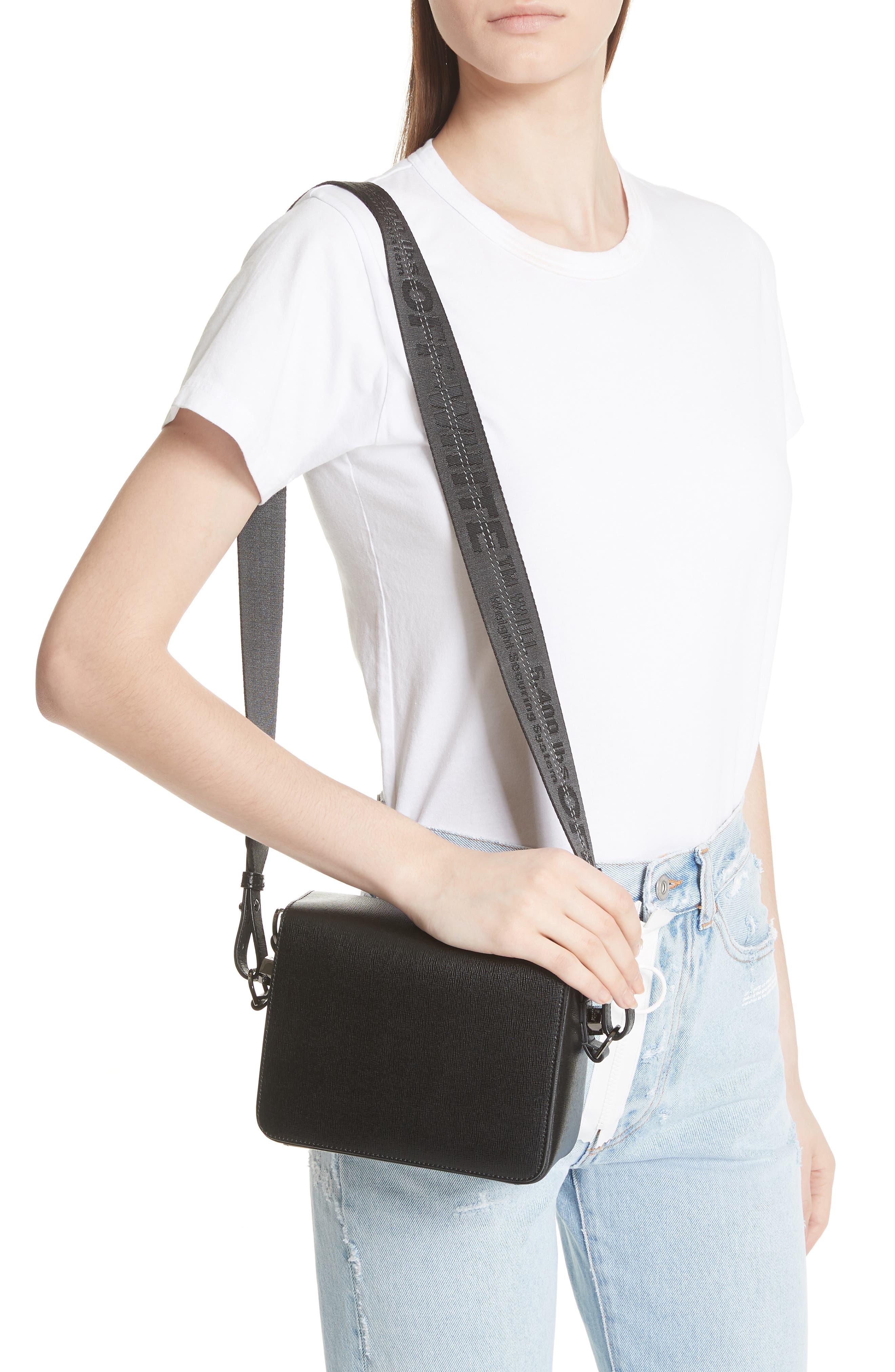 Binder Clip Leather Flap Bag,                             Alternate thumbnail 2, color,                             Black