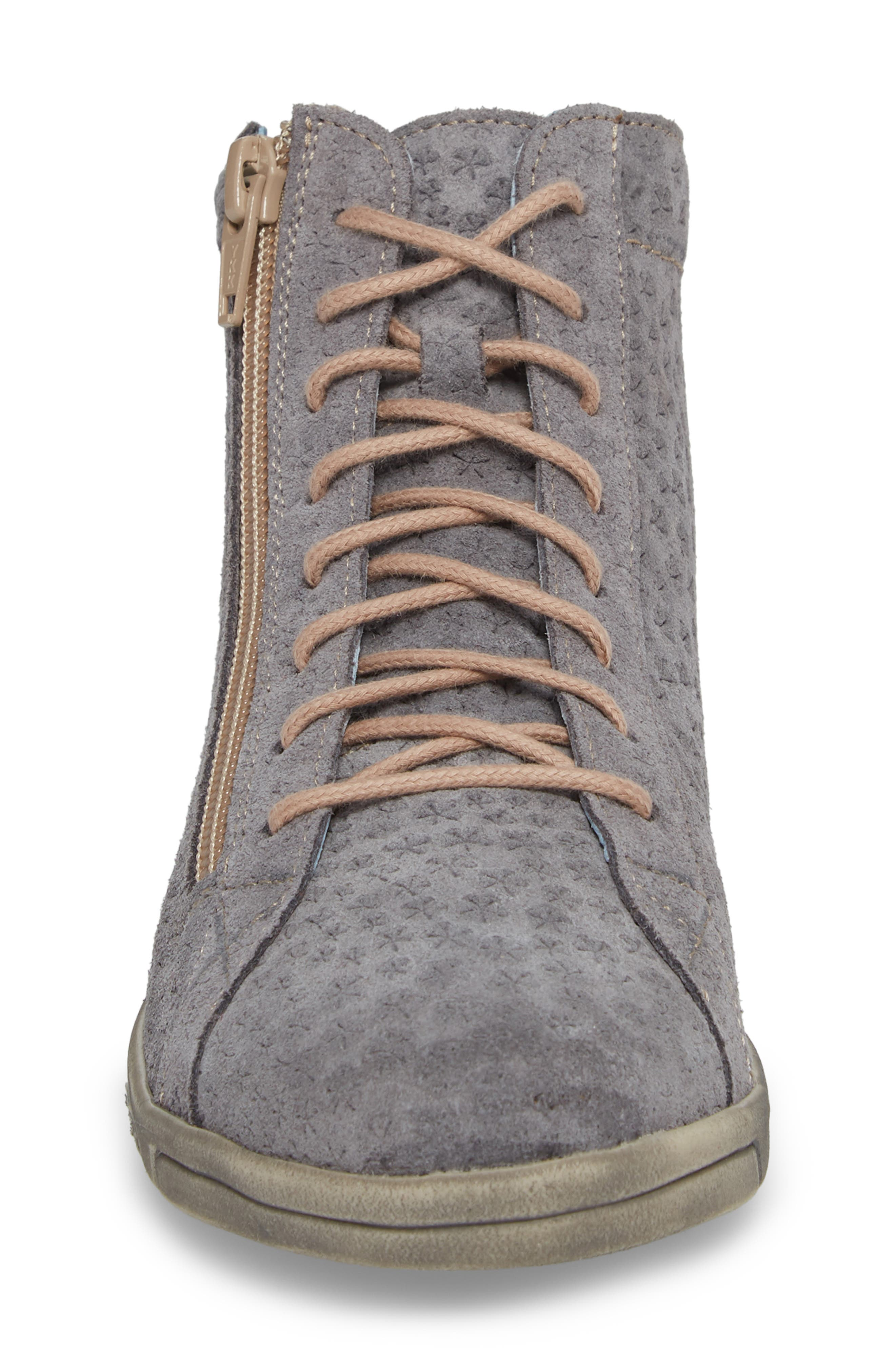 Aika Star Perforated High Top Sneaker,                             Alternate thumbnail 4, color,                             Grey Leather