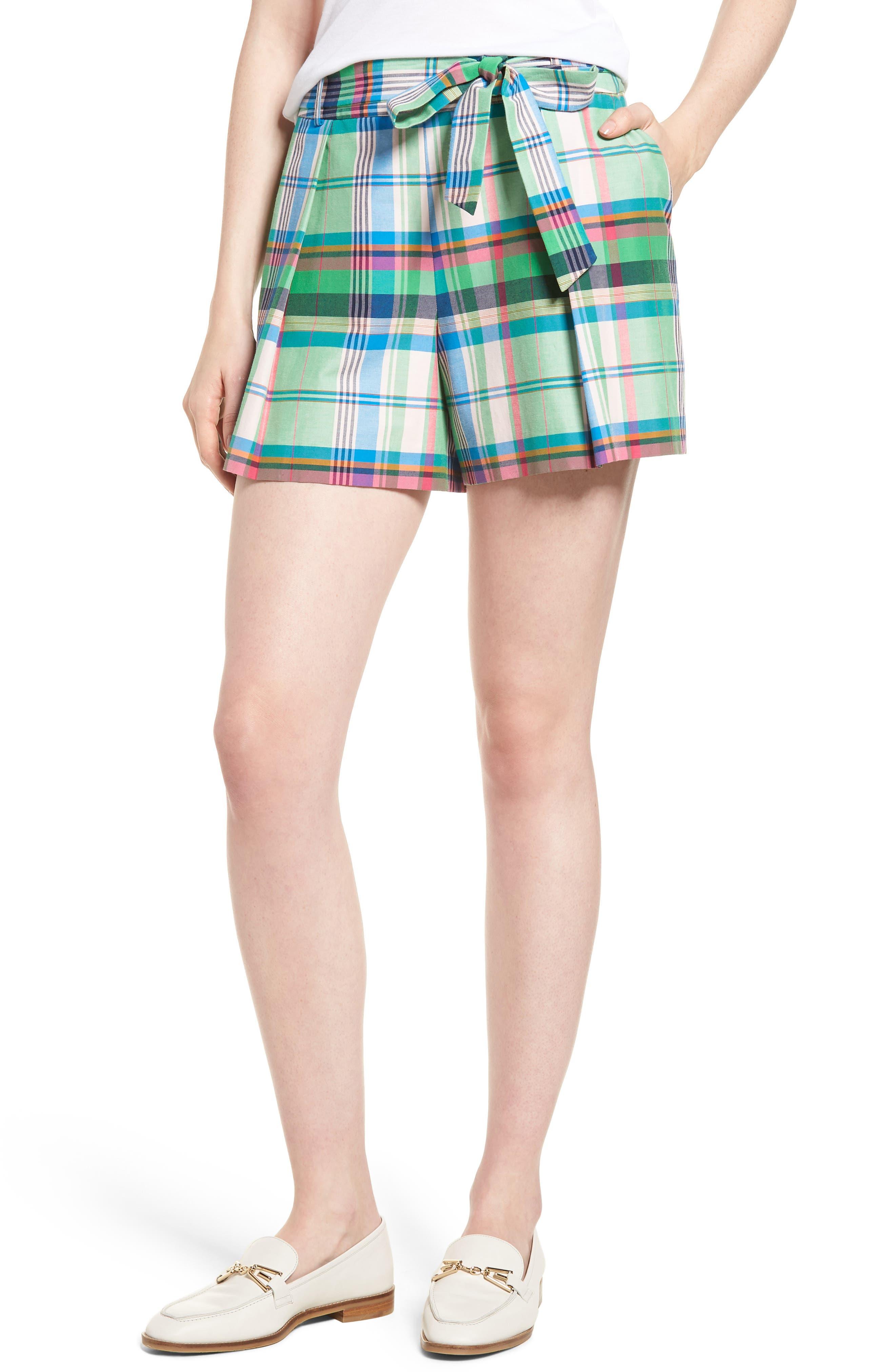 Pleated Plaid Shorts,                         Main,                         color, Green Multi Plaid