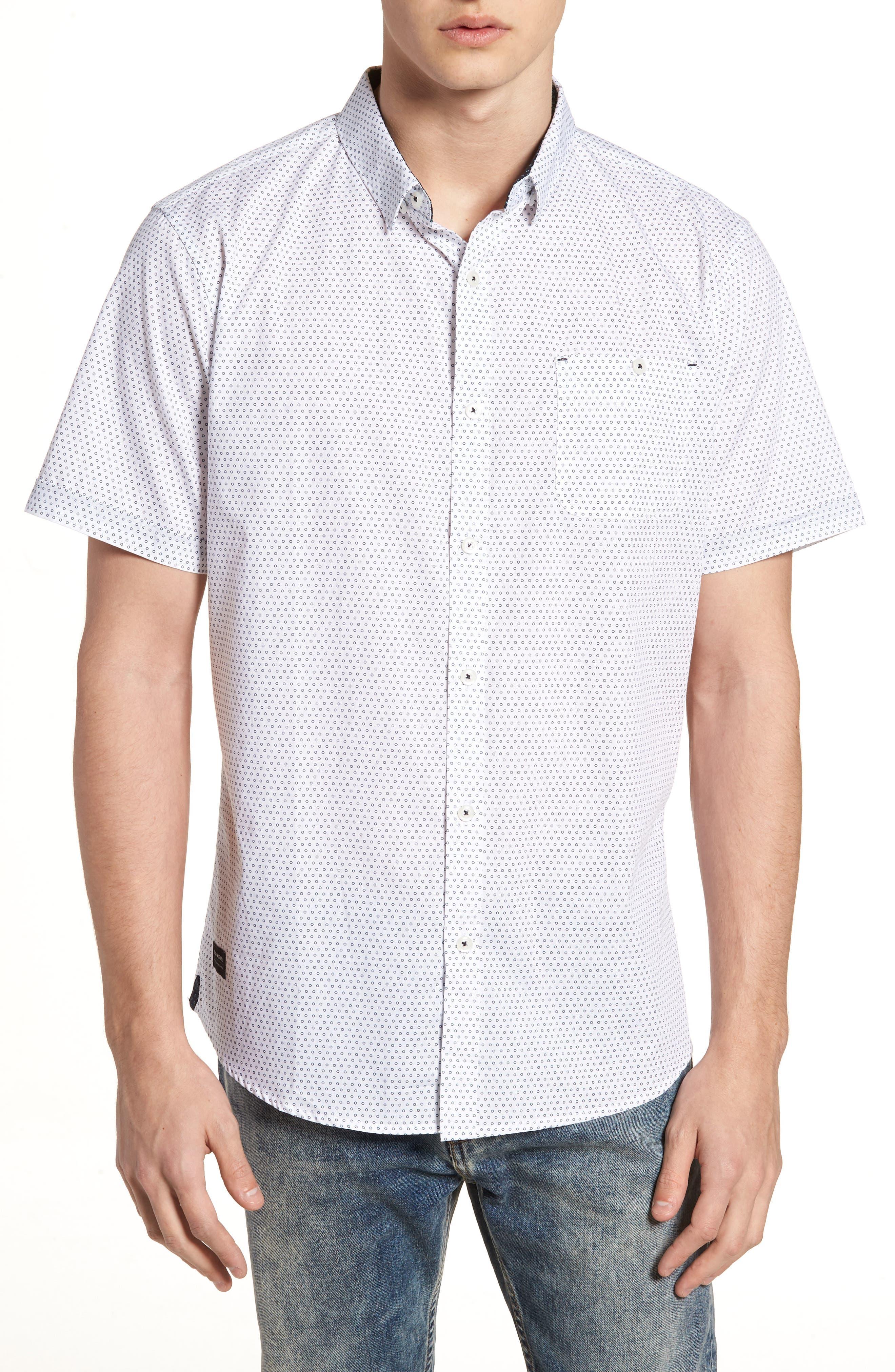 Lights of Home Slim Fit Short Sleeve Sport Shirt,                             Main thumbnail 1, color,                             White