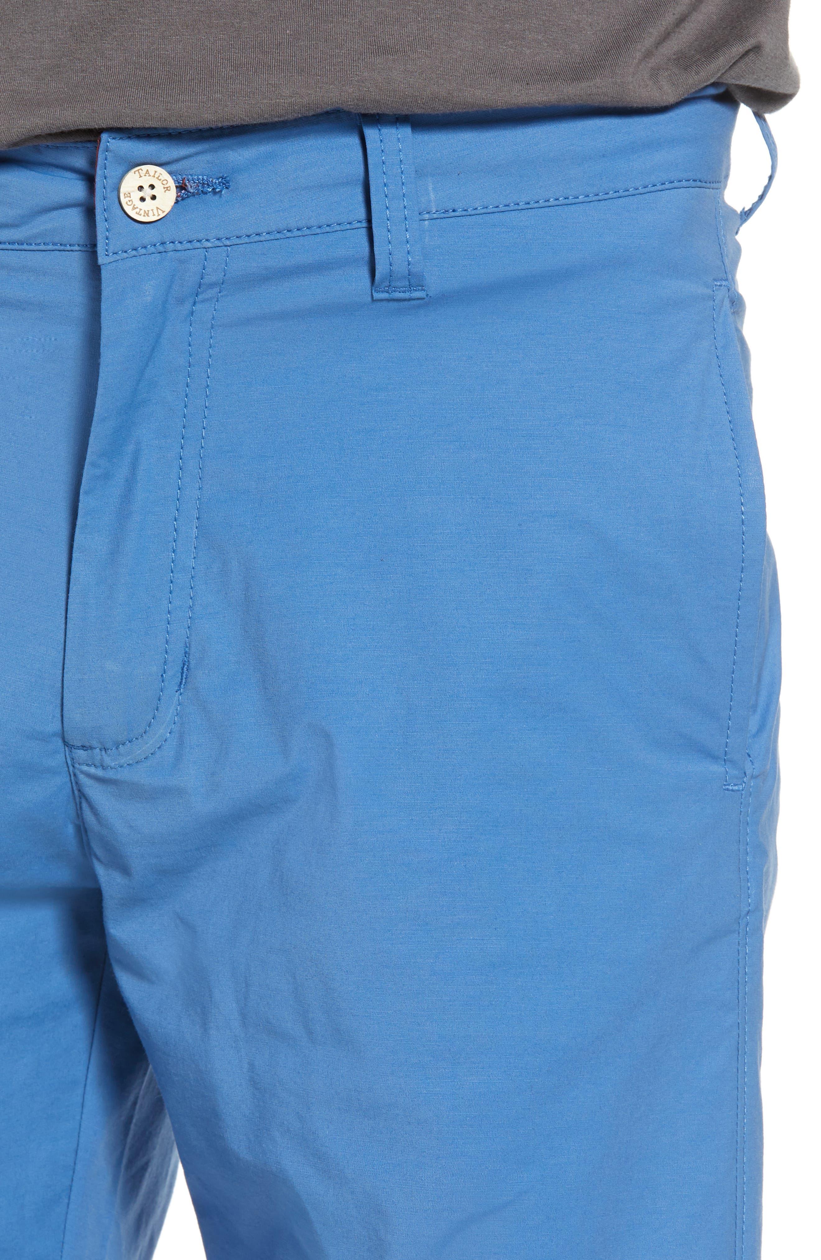 Stretch Cotton Blend Shorts,                             Alternate thumbnail 4, color,                             Delft