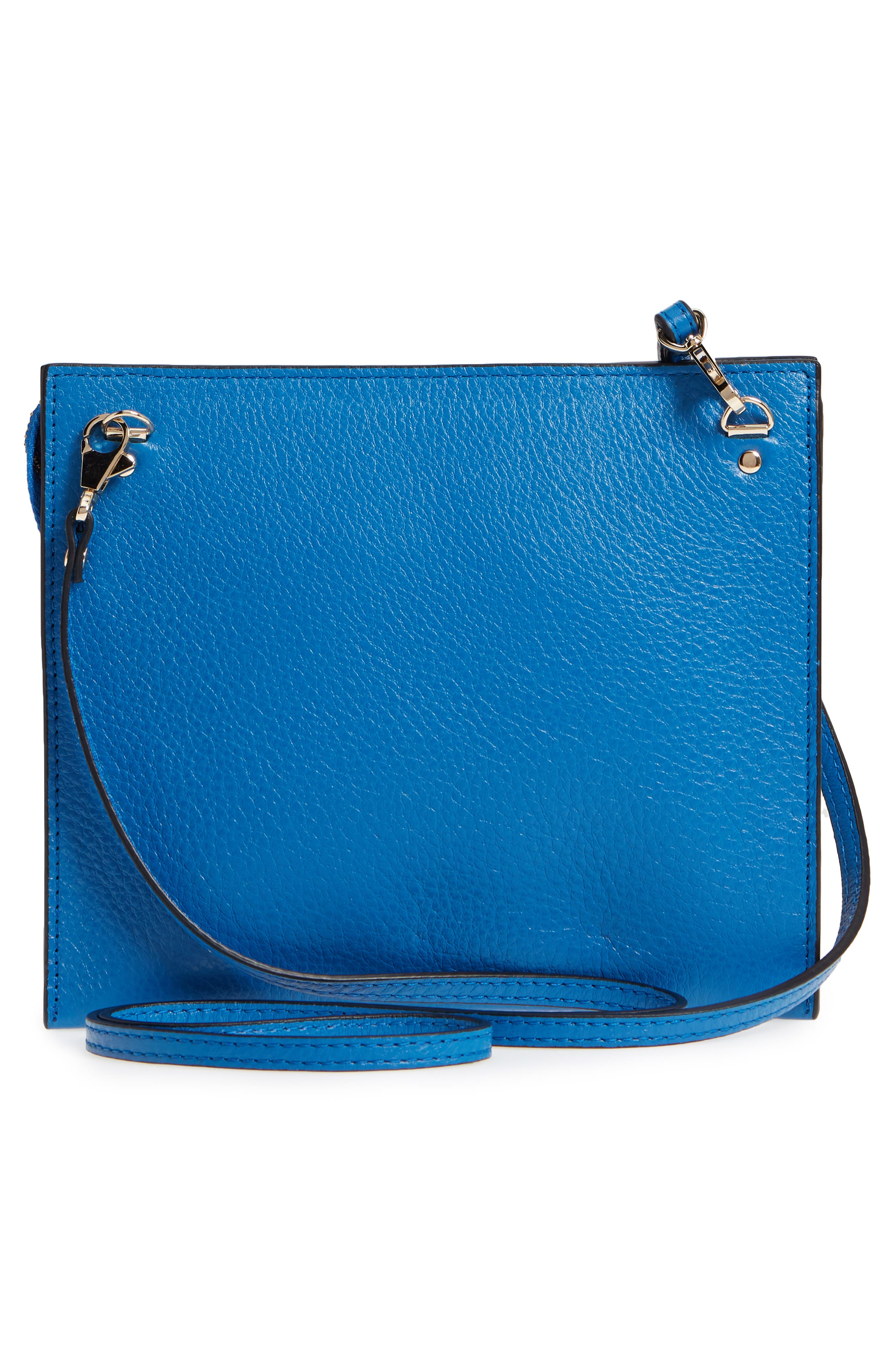 Dual Slim Leather Crossbody Clutch,                             Alternate thumbnail 3, color,                             Sea Blue