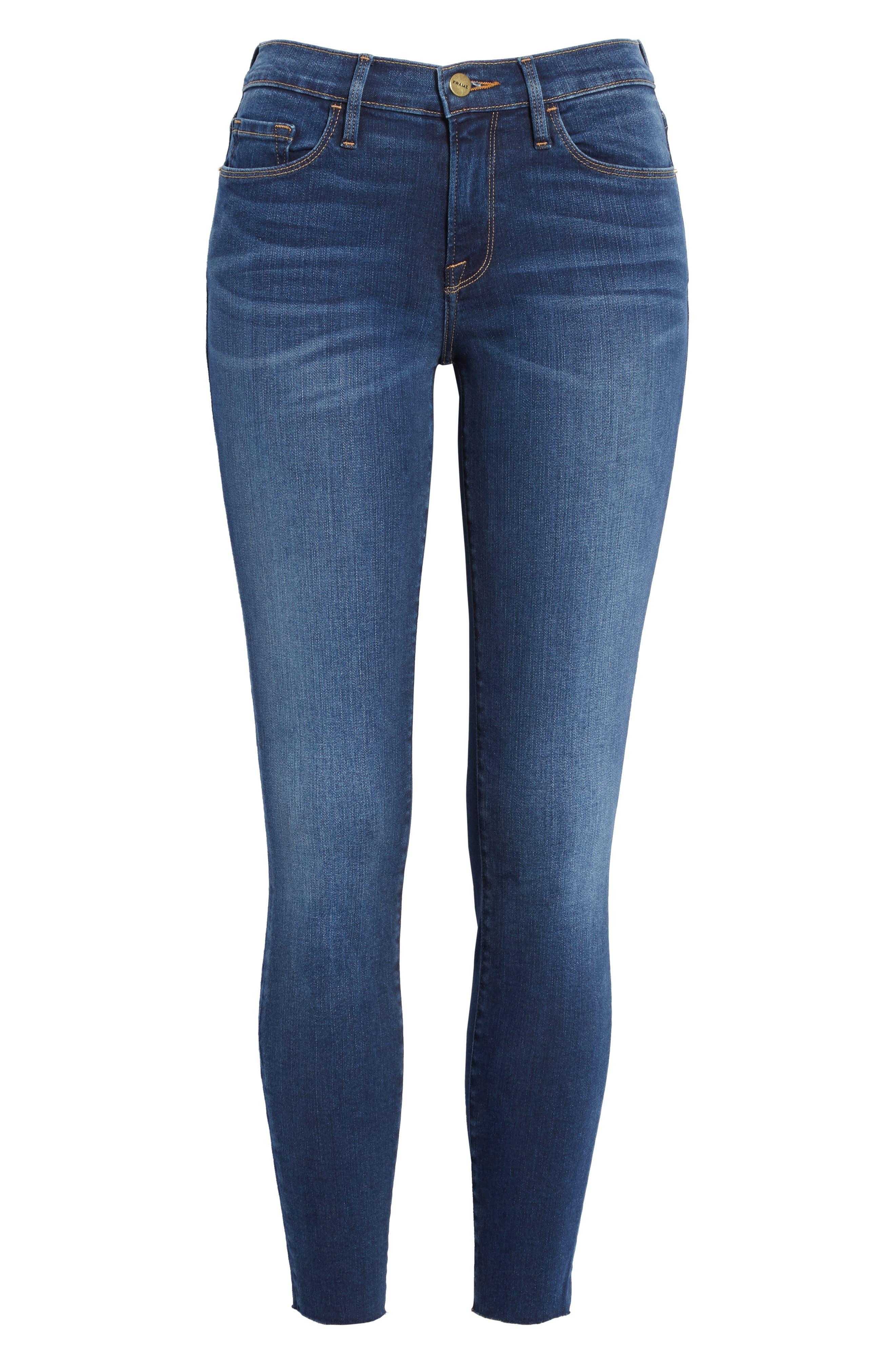 Le Skinny de Jeanne Raw Hem Crop Jeans,                             Alternate thumbnail 6, color,                             Cobbert Exclusive