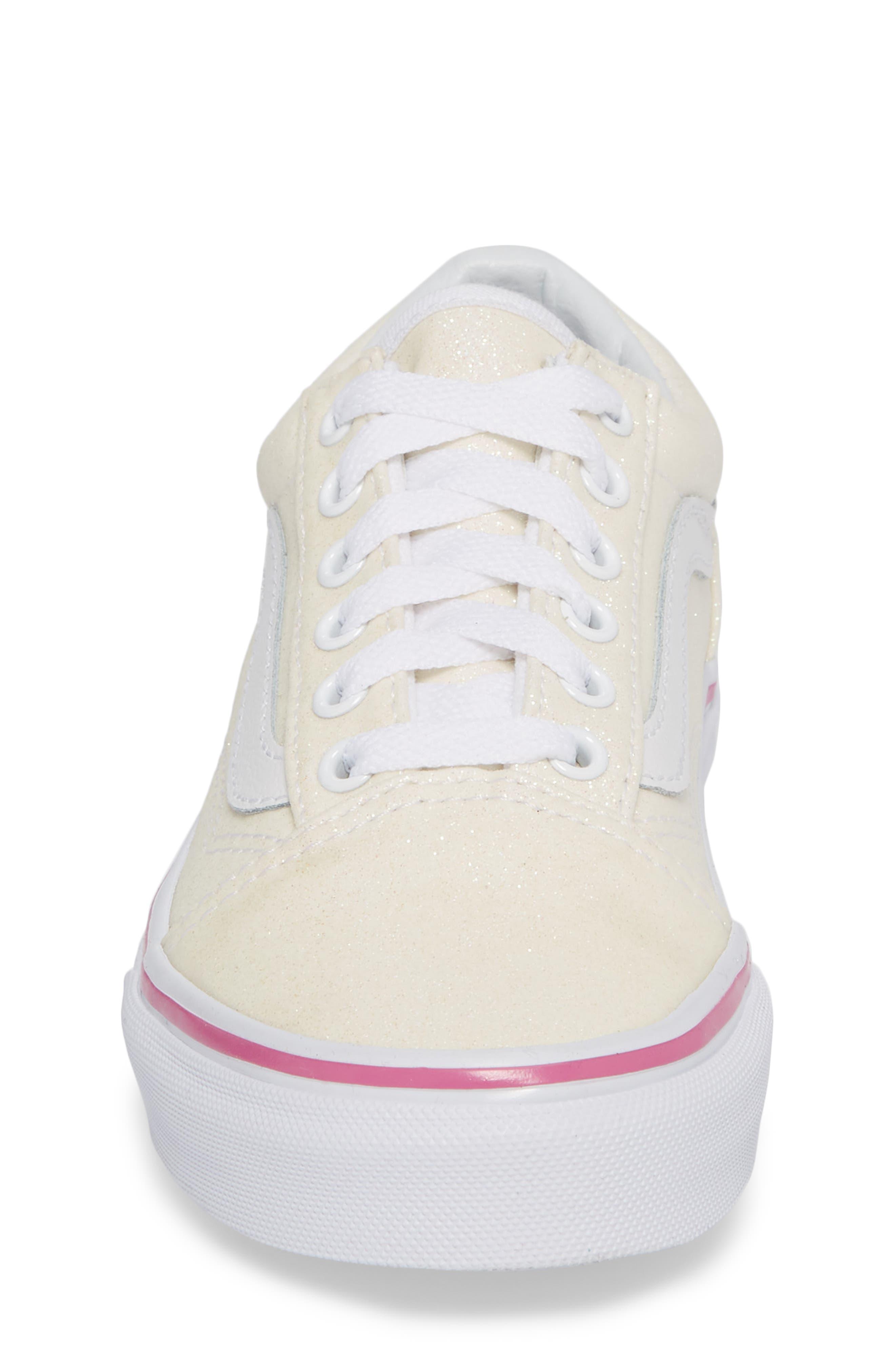Old Skool Sneaker,                             Alternate thumbnail 4, color,                             Rainbow White Glitter
