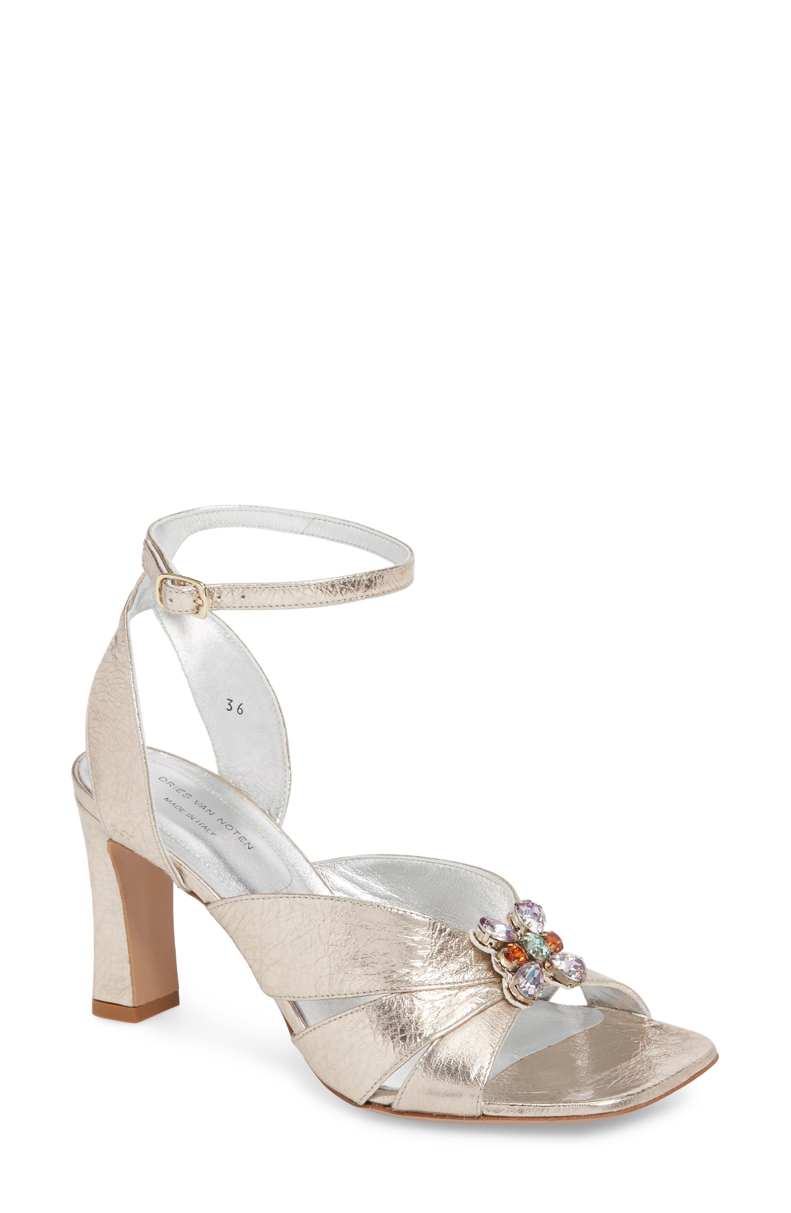 Metallic Brooch Sandal,                         Main,                         color, Silver