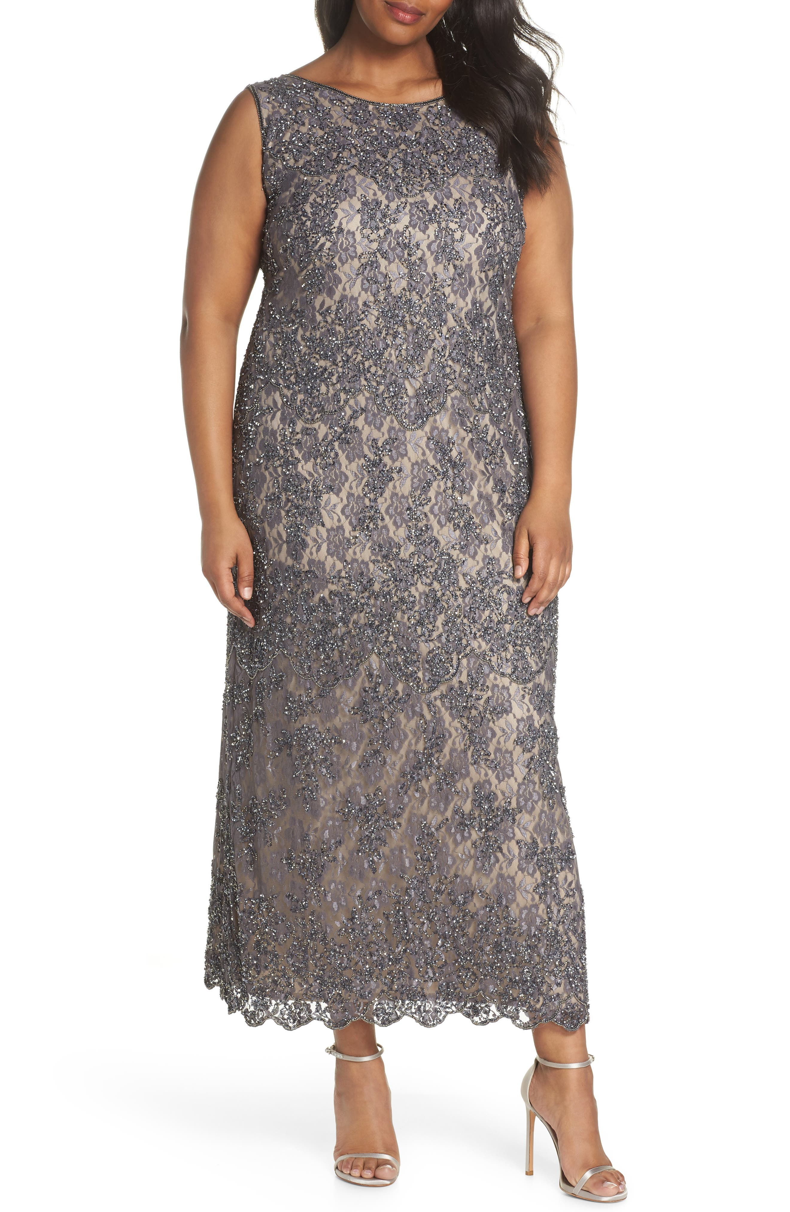 Embellished Lace A-Line Dress,                         Main,                         color, Graphite