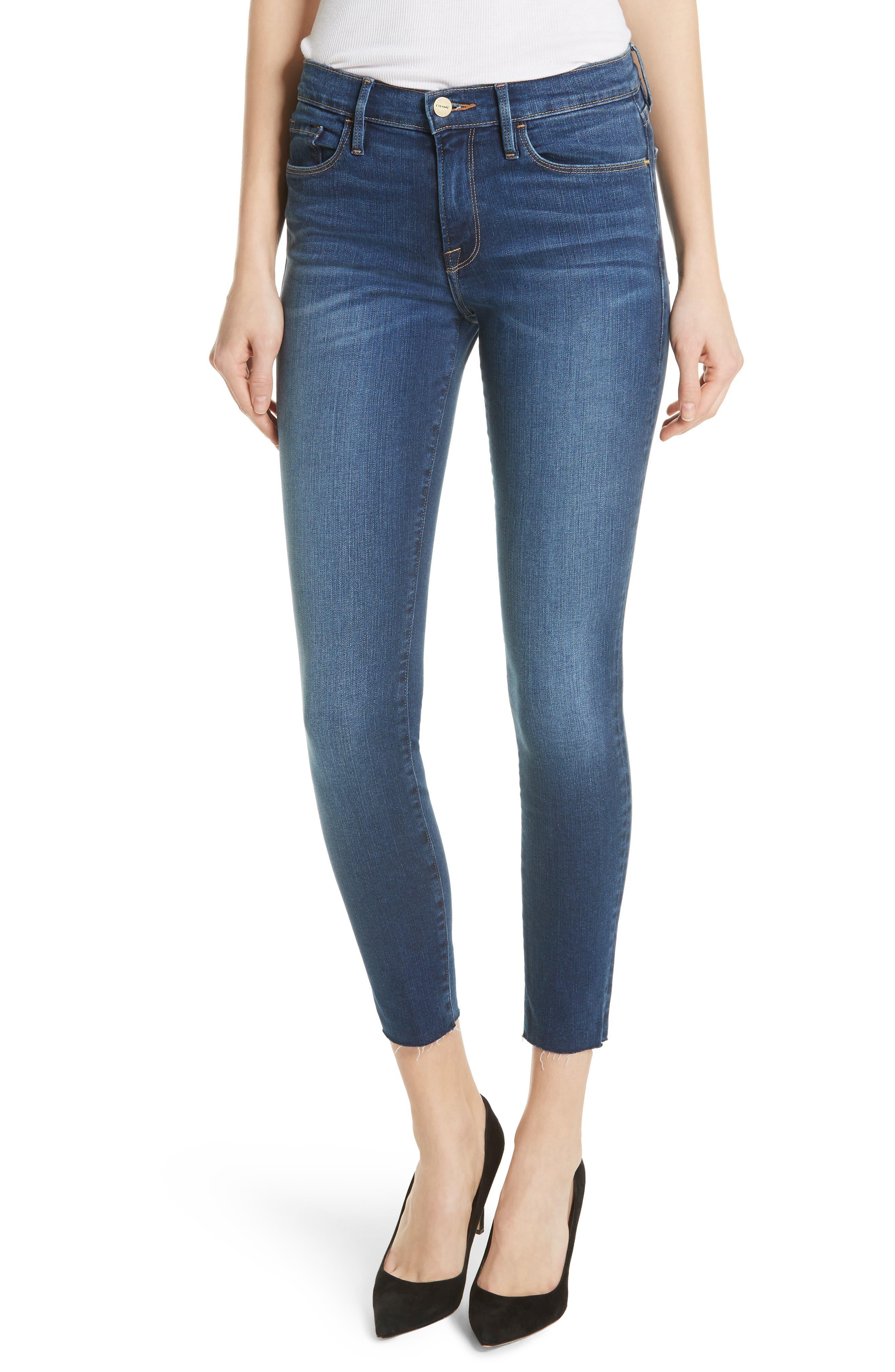 Le Skinny de Jeanne Raw Hem Crop Jeans,                             Main thumbnail 1, color,                             Cobbert Exclusive