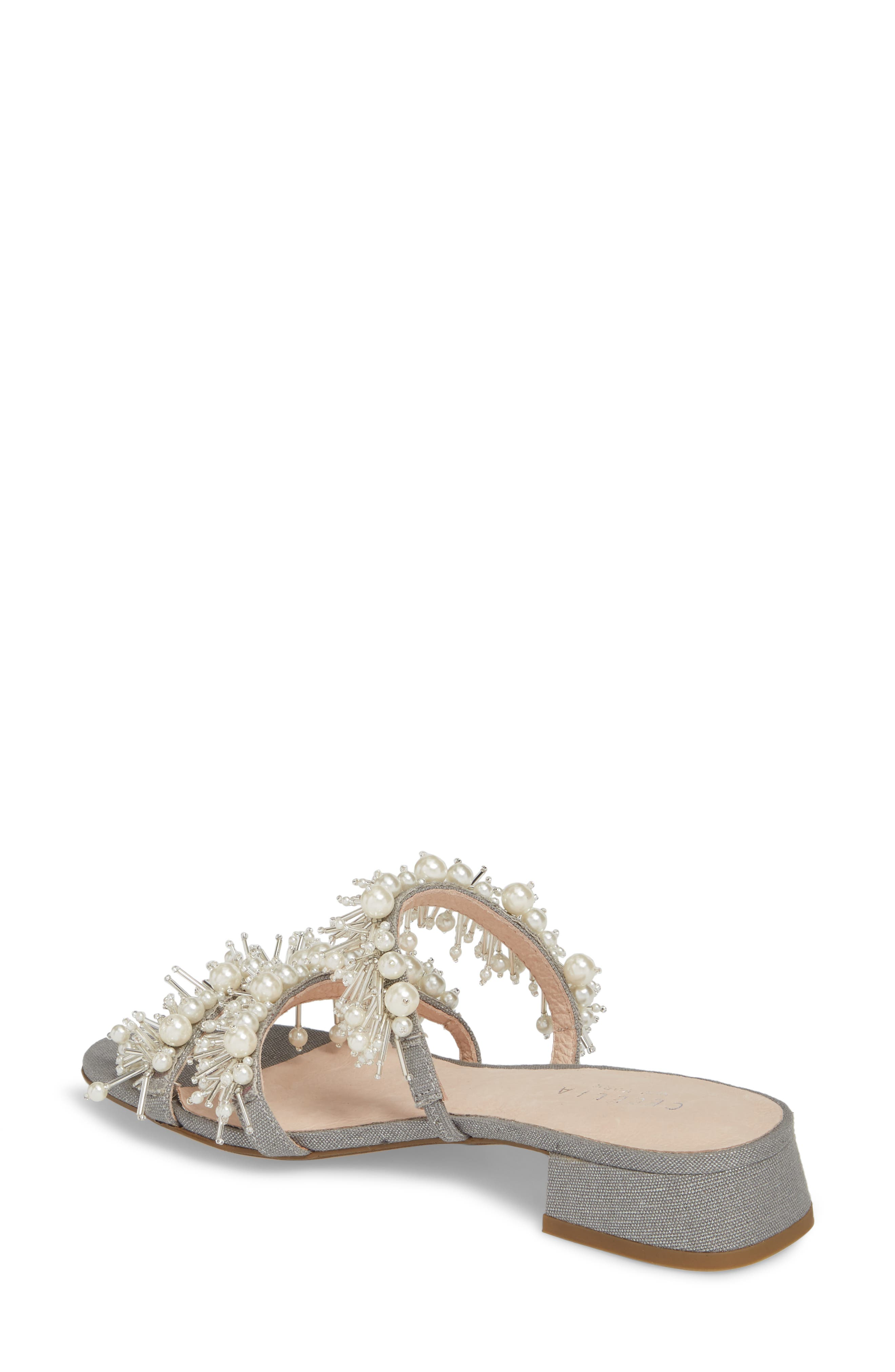 Fes Embellished Slide Sandal,                             Alternate thumbnail 2, color,                             Grey Fabric