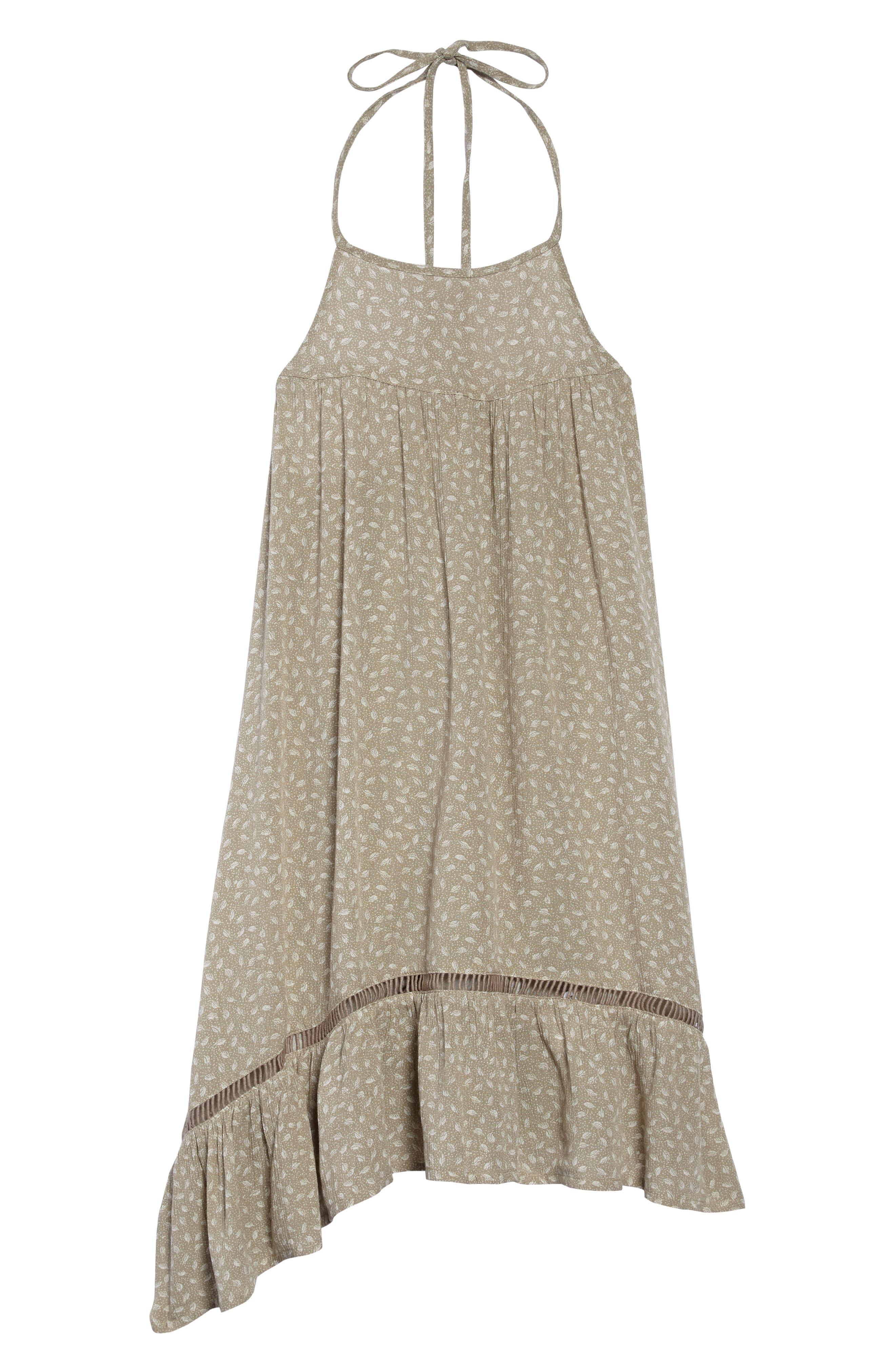 Danielle Ruffle Halter Dress,                             Main thumbnail 1, color,                             Laurel Oak