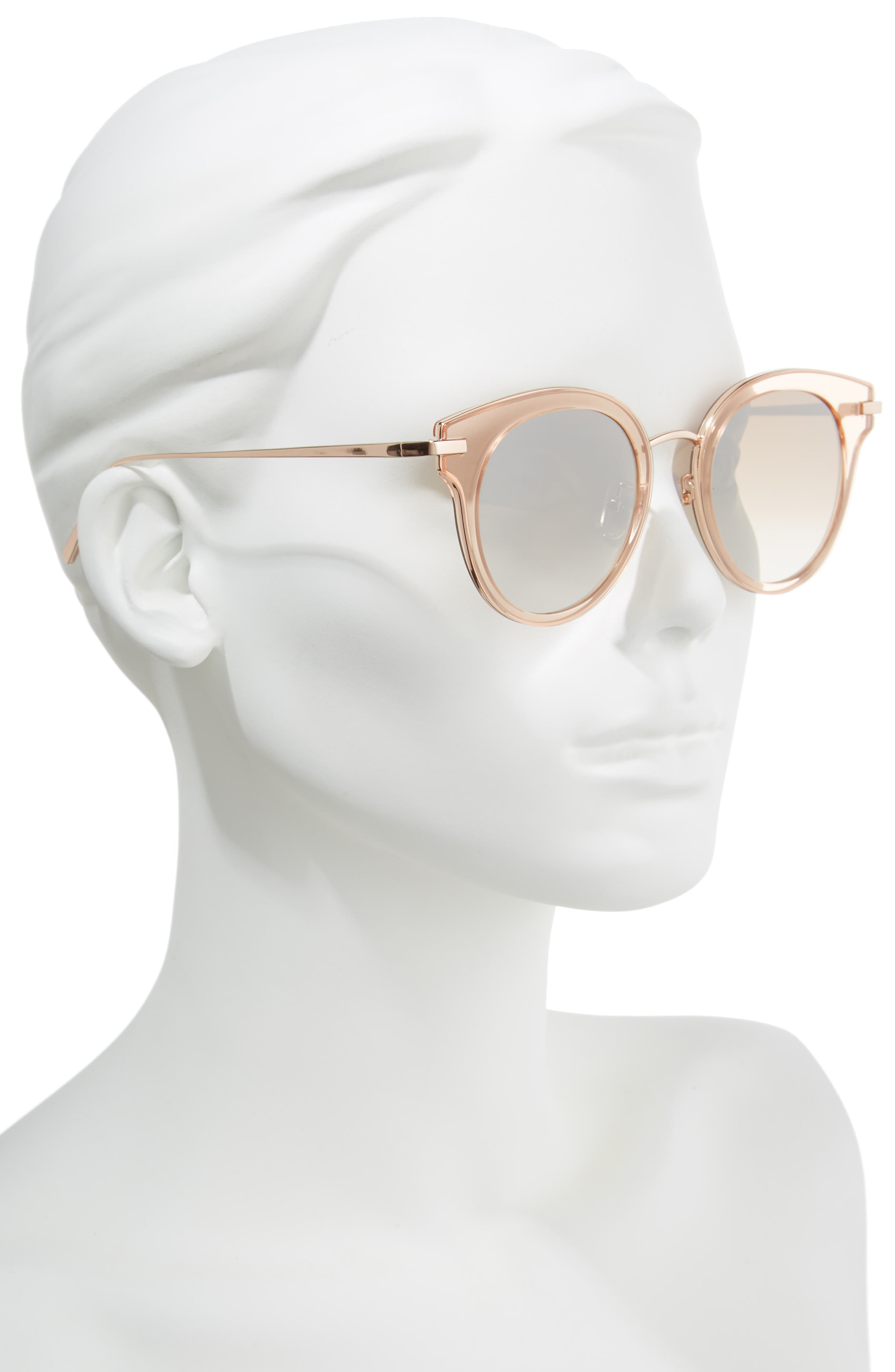 50mm Round Sunglasses,                             Alternate thumbnail 2, color,                             Rose Gold/Brown Mirror