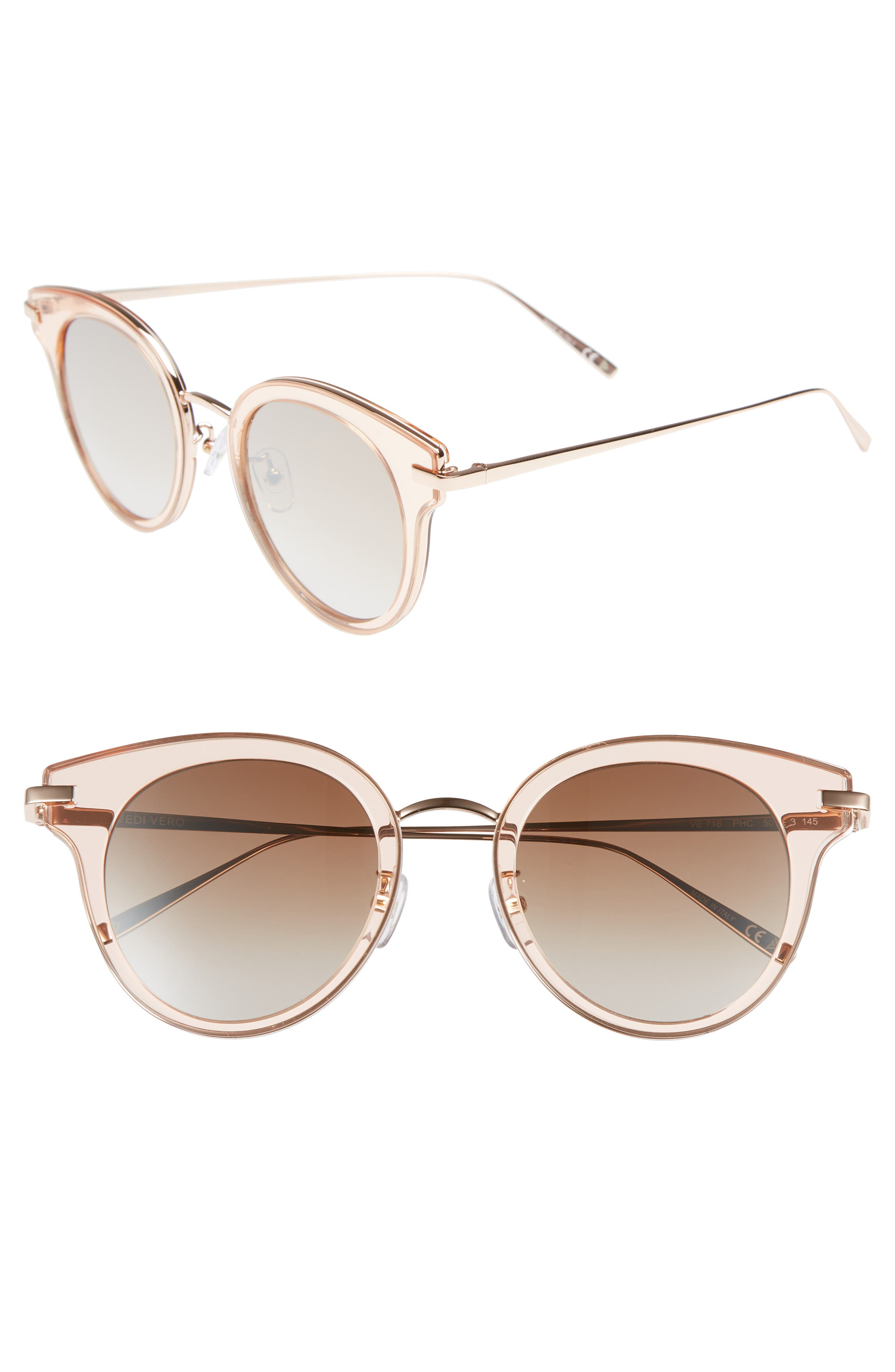 50mm Round Sunglasses,                         Main,                         color, Rose Gold/Brown Mirror