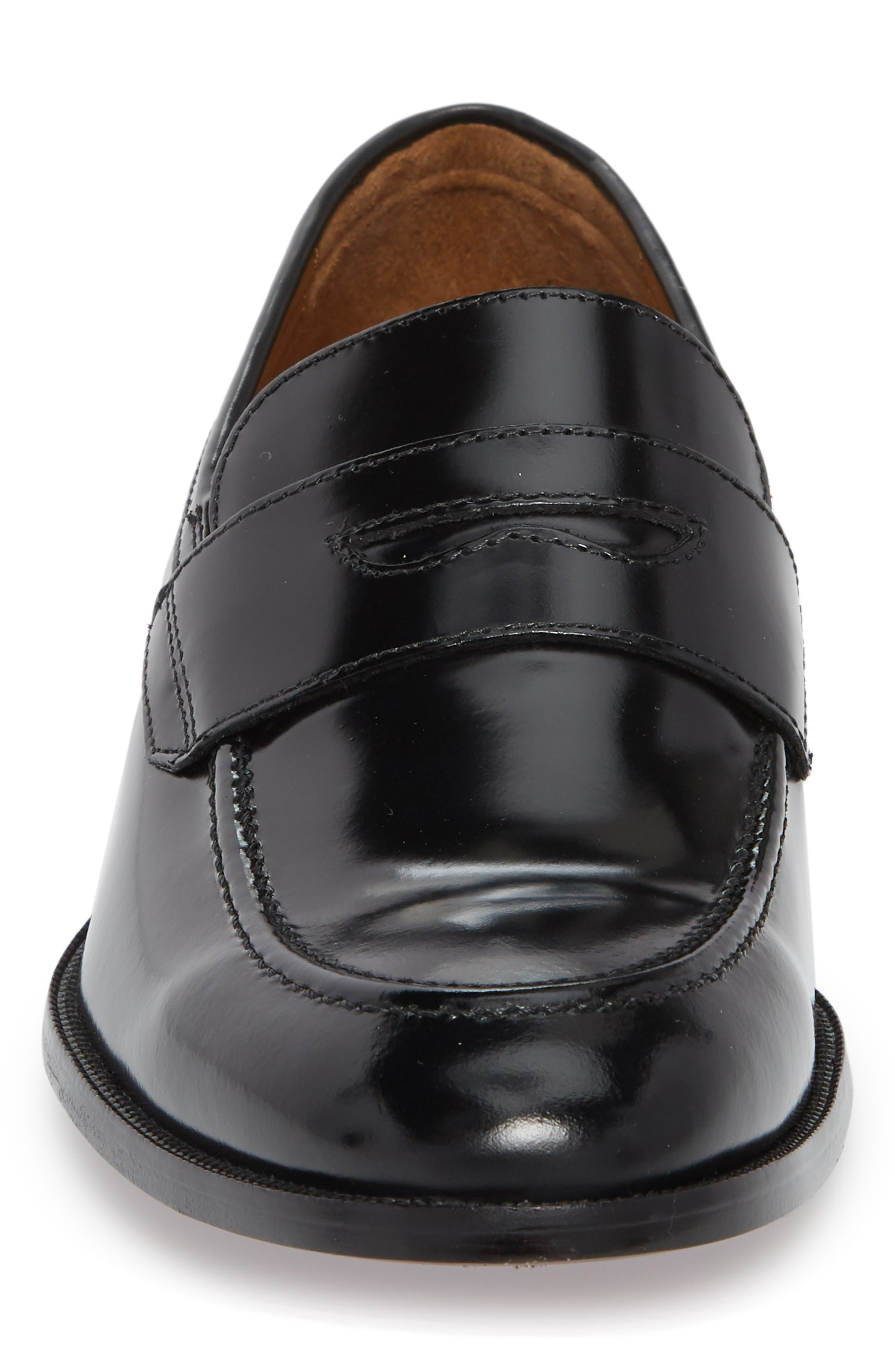 Bradford Penny Loafer,                             Alternate thumbnail 4, color,                             Black Leather