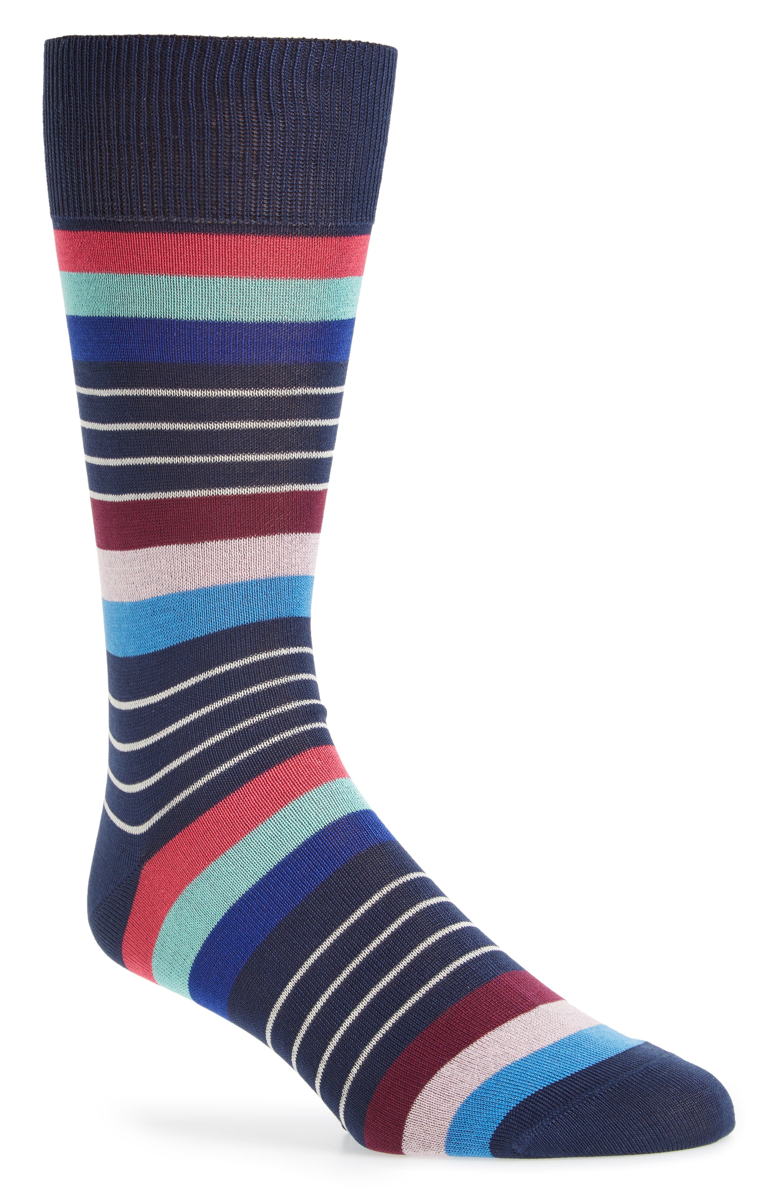 Kel Stripe Crew Socks,                         Main,                         color, Navy Multi