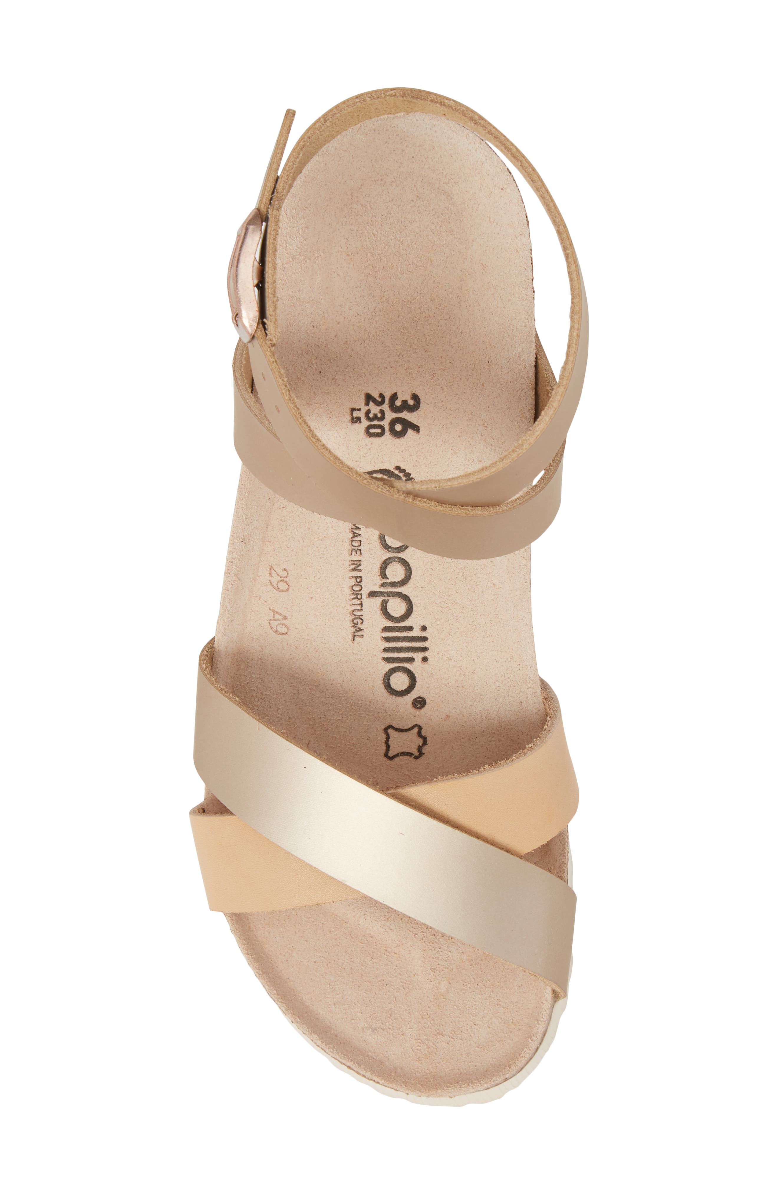 Papillio by Birkenstock Lola Wedge Sandal,                             Alternate thumbnail 5, color,                             Frosted Metallic Rose