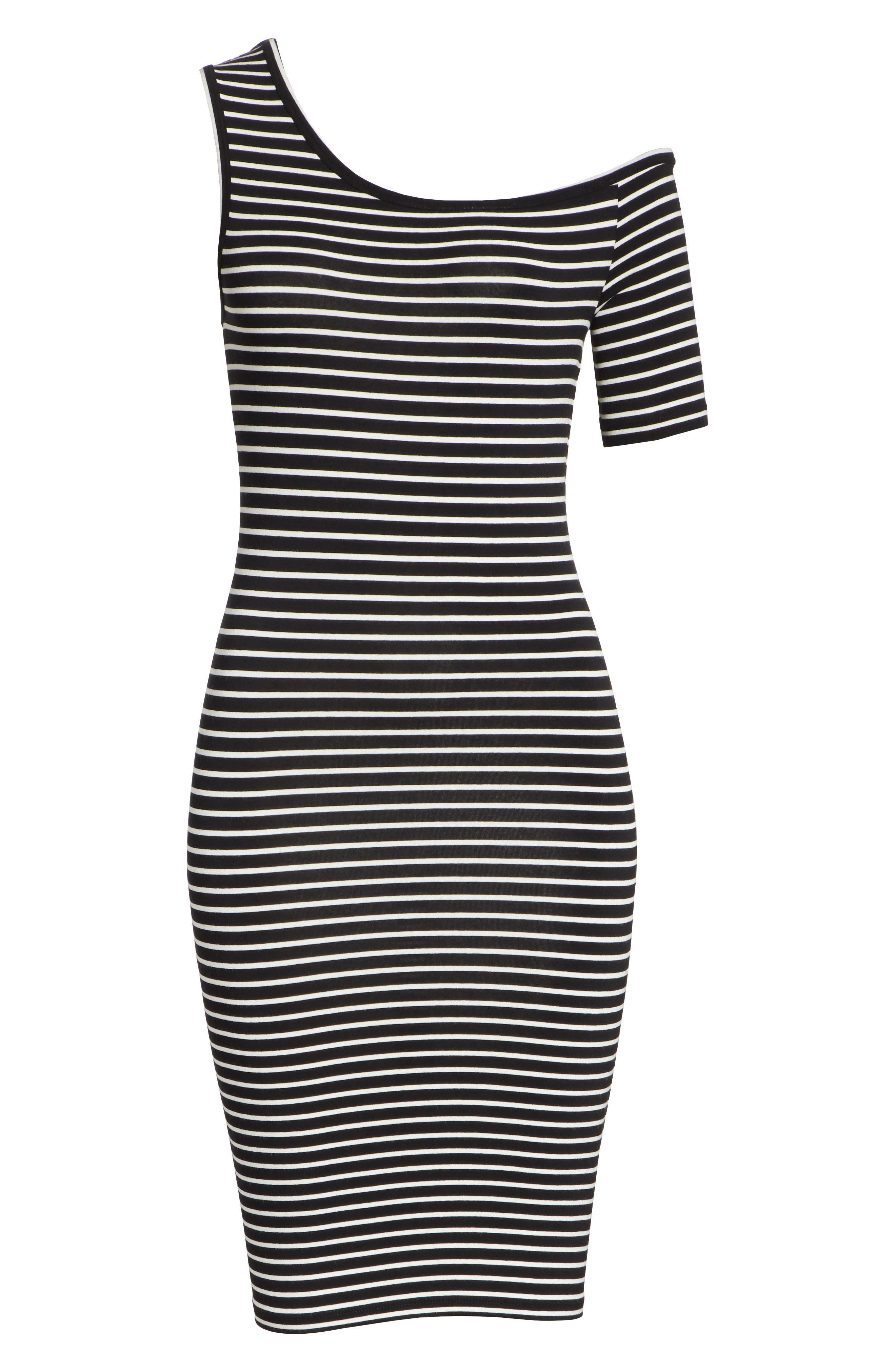 Stripe One-Sleeve Body-Con Dress,                             Alternate thumbnail 6, color,                             Noir Multi