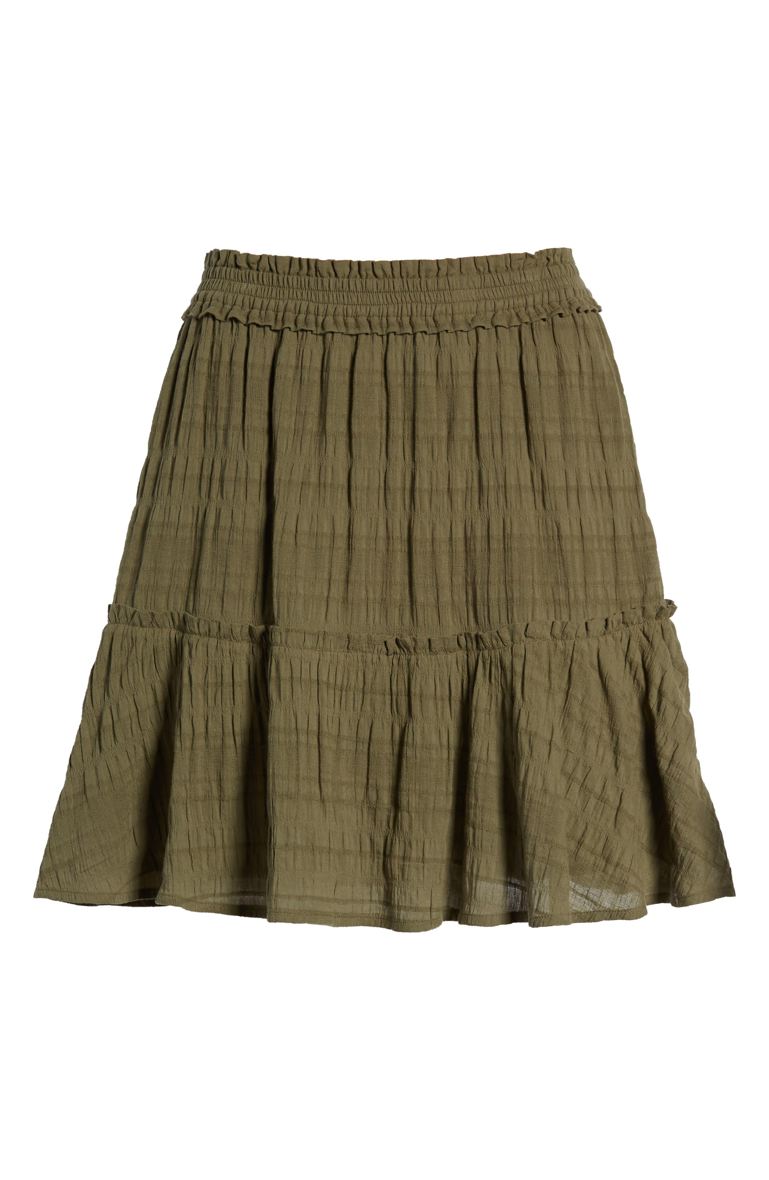 Smocked Stretch Cotton Mini Skirt,                             Alternate thumbnail 5, color,                             Olive Kalamata