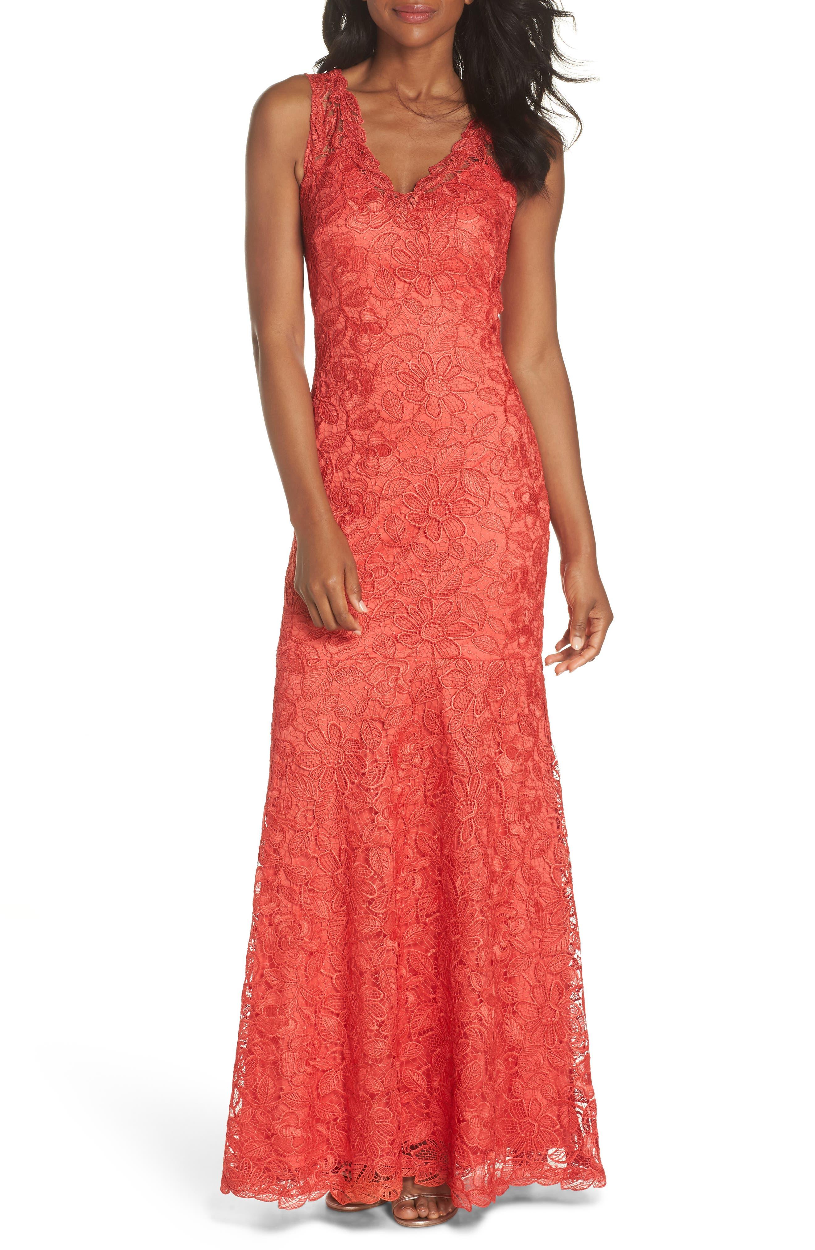 Floral Lace Trumpet Gown,                             Main thumbnail 1, color,                             Red/ Jasper