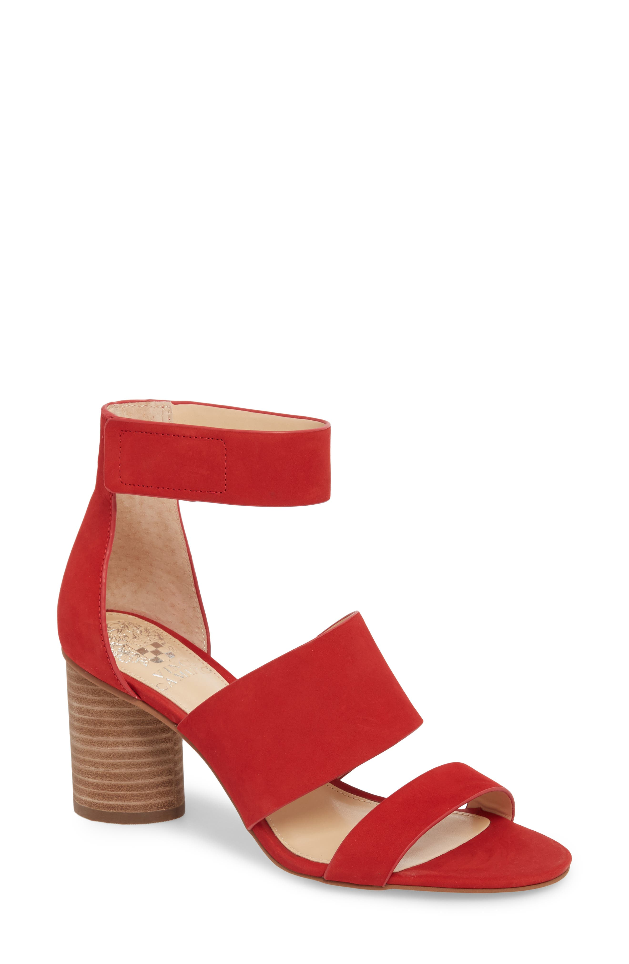 Junette Sandal,                             Main thumbnail 1, color,                             Cherry Red Leather