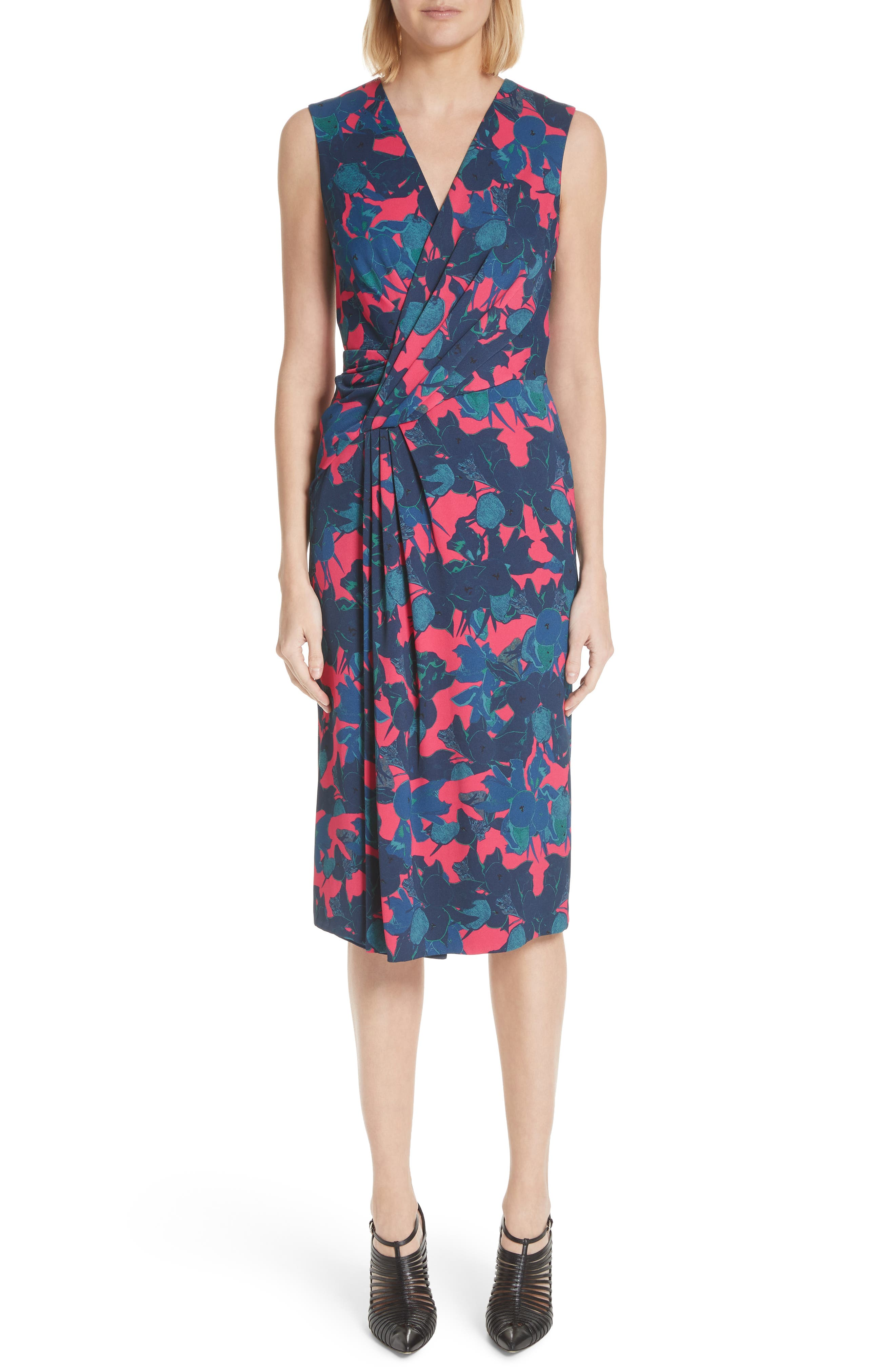 Jason Wu Fruit Print Wrap Front Crepe Dress