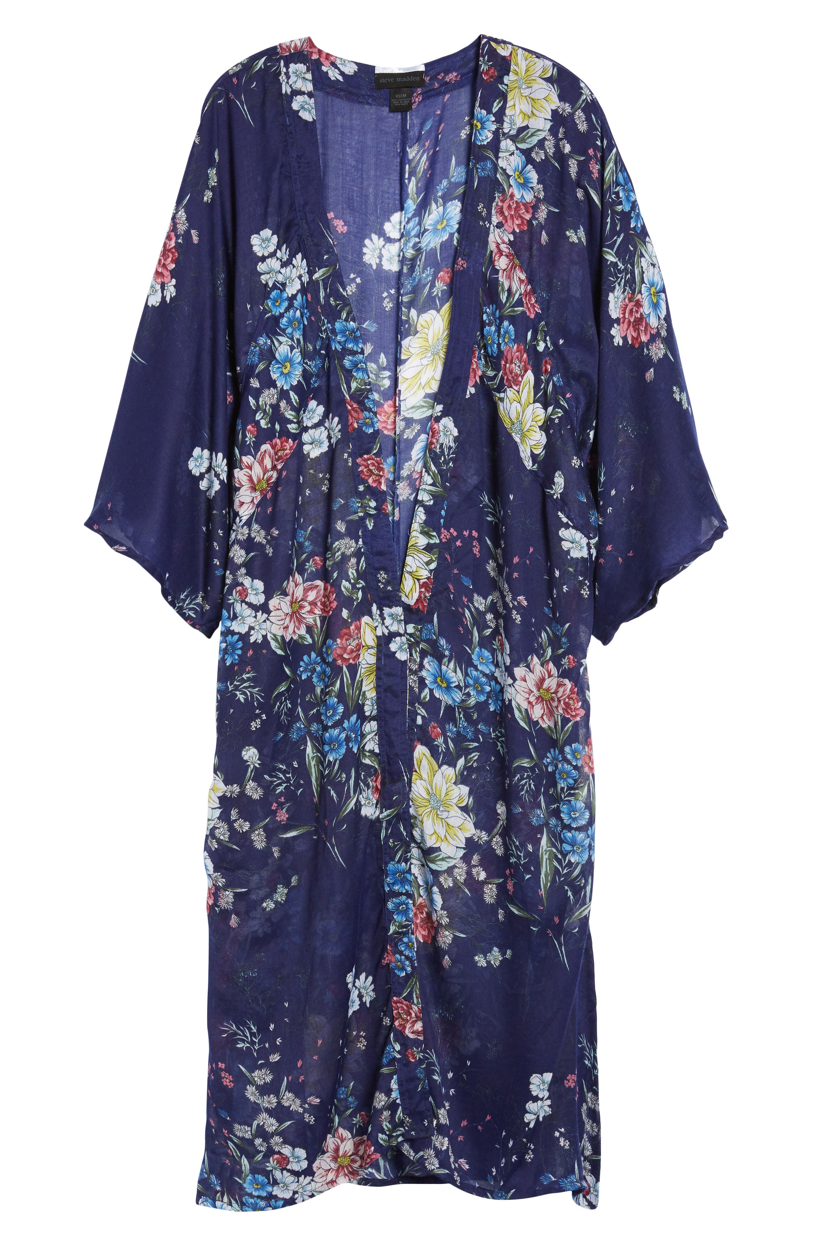 Floral Kimono Duster,                             Alternate thumbnail 6, color,                             Navy