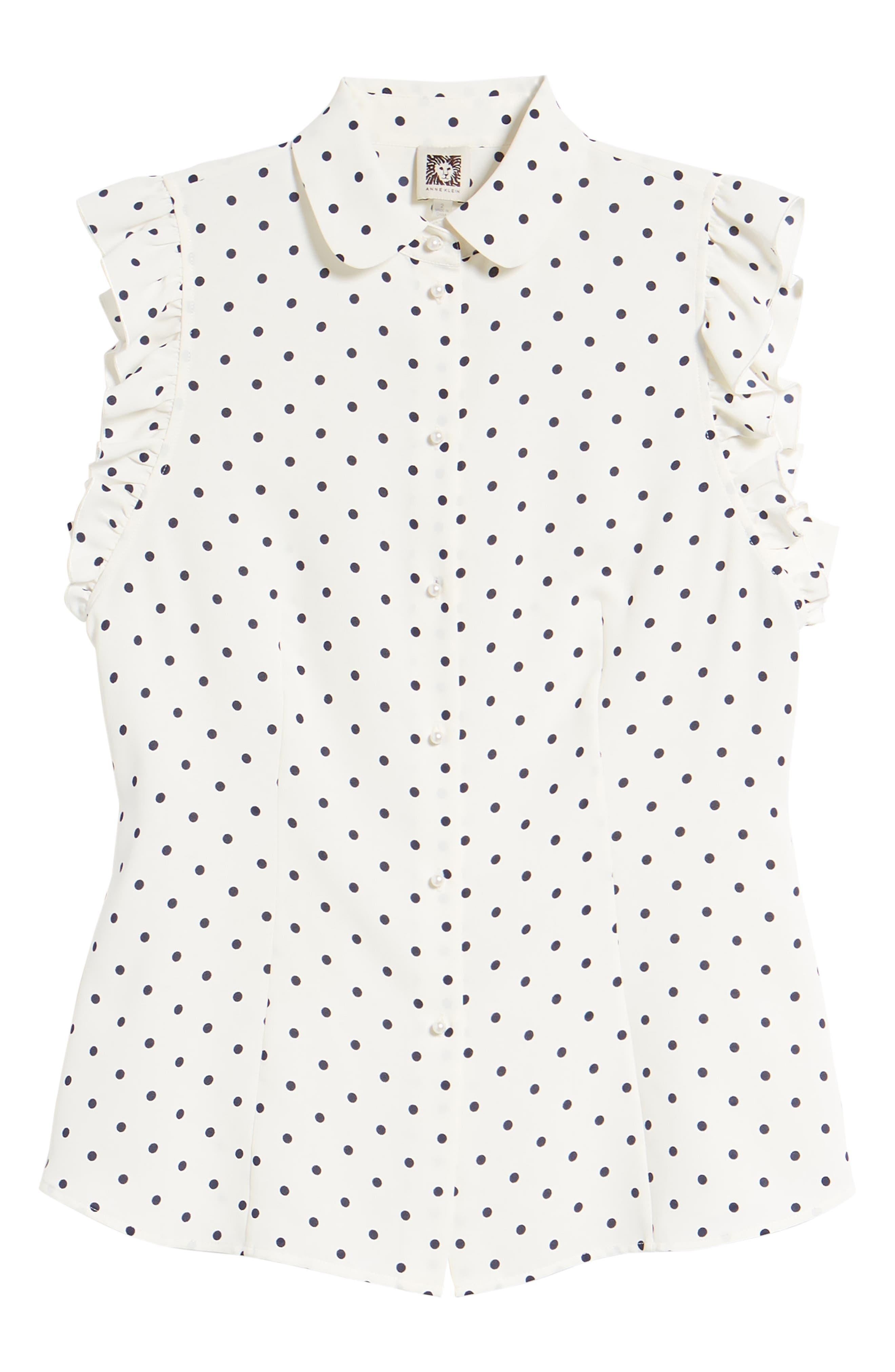 Ginza Dot Ruffle Sleeve Blouse,                             Alternate thumbnail 6, color,                             White/ Breton Blue