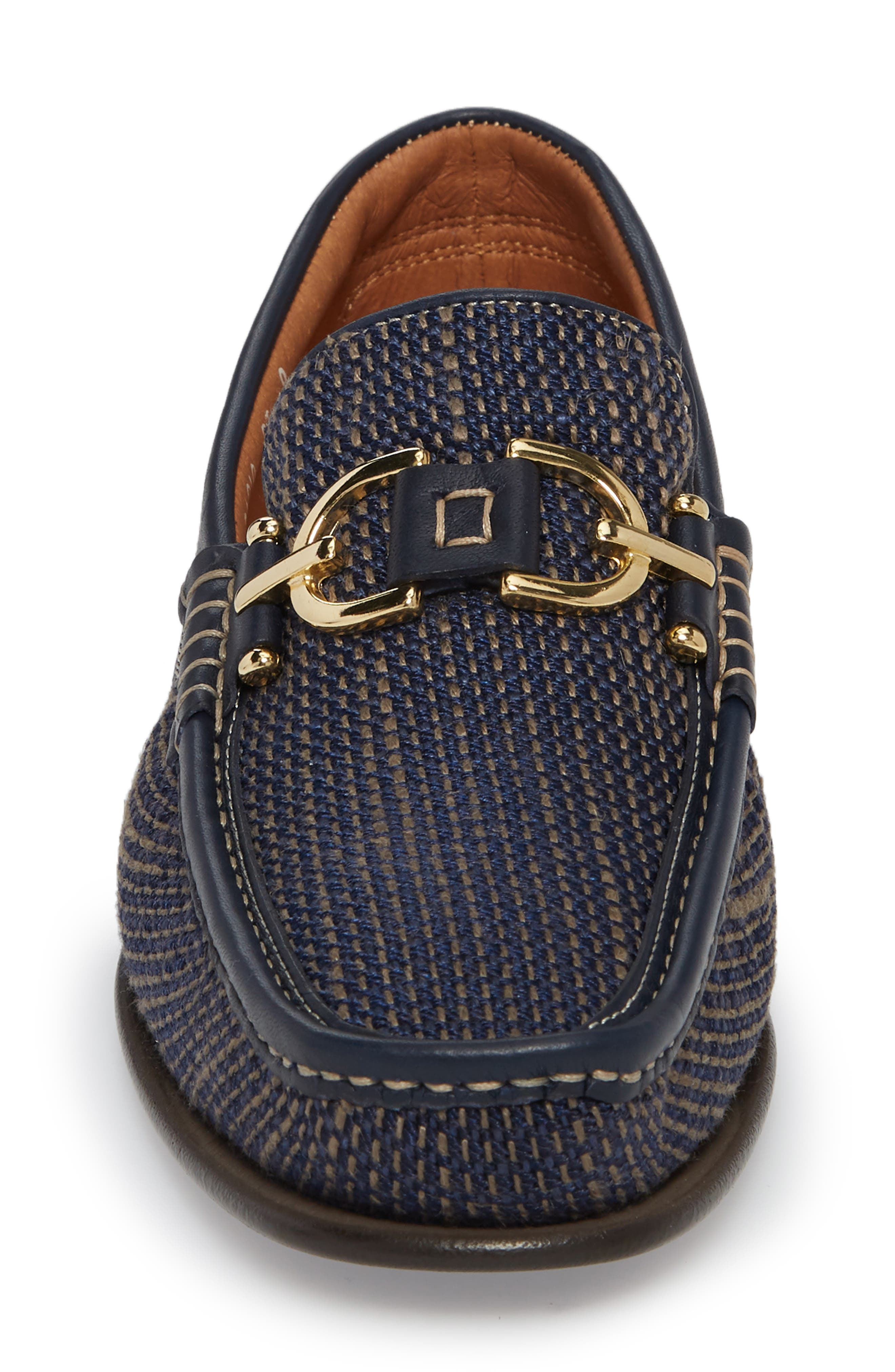 Dacio Woven Bit Loafer,                             Alternate thumbnail 4, color,                             Navy Leather