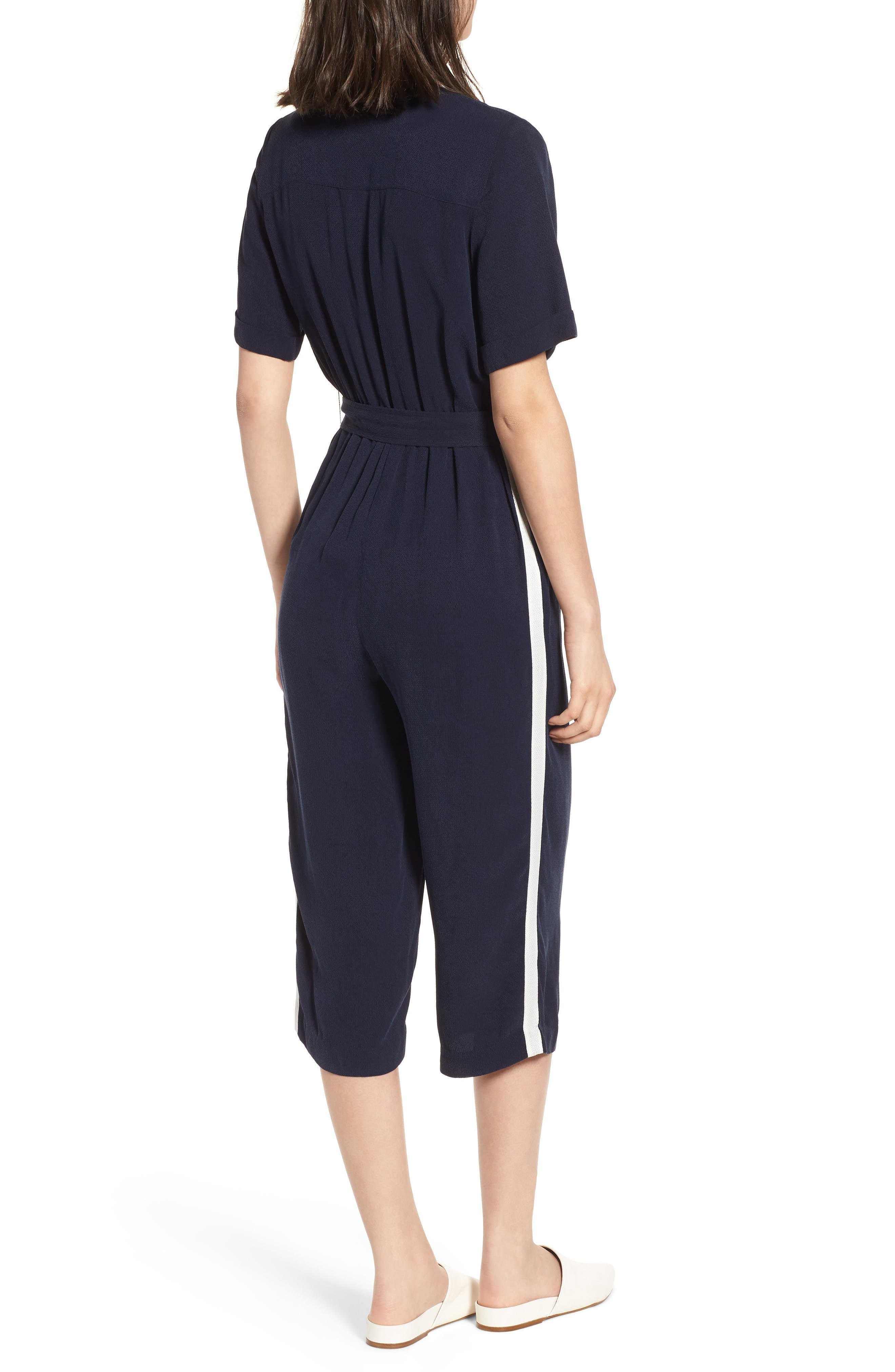 Downstairs Crop Jumpsuit,                             Alternate thumbnail 2, color,                             Navy