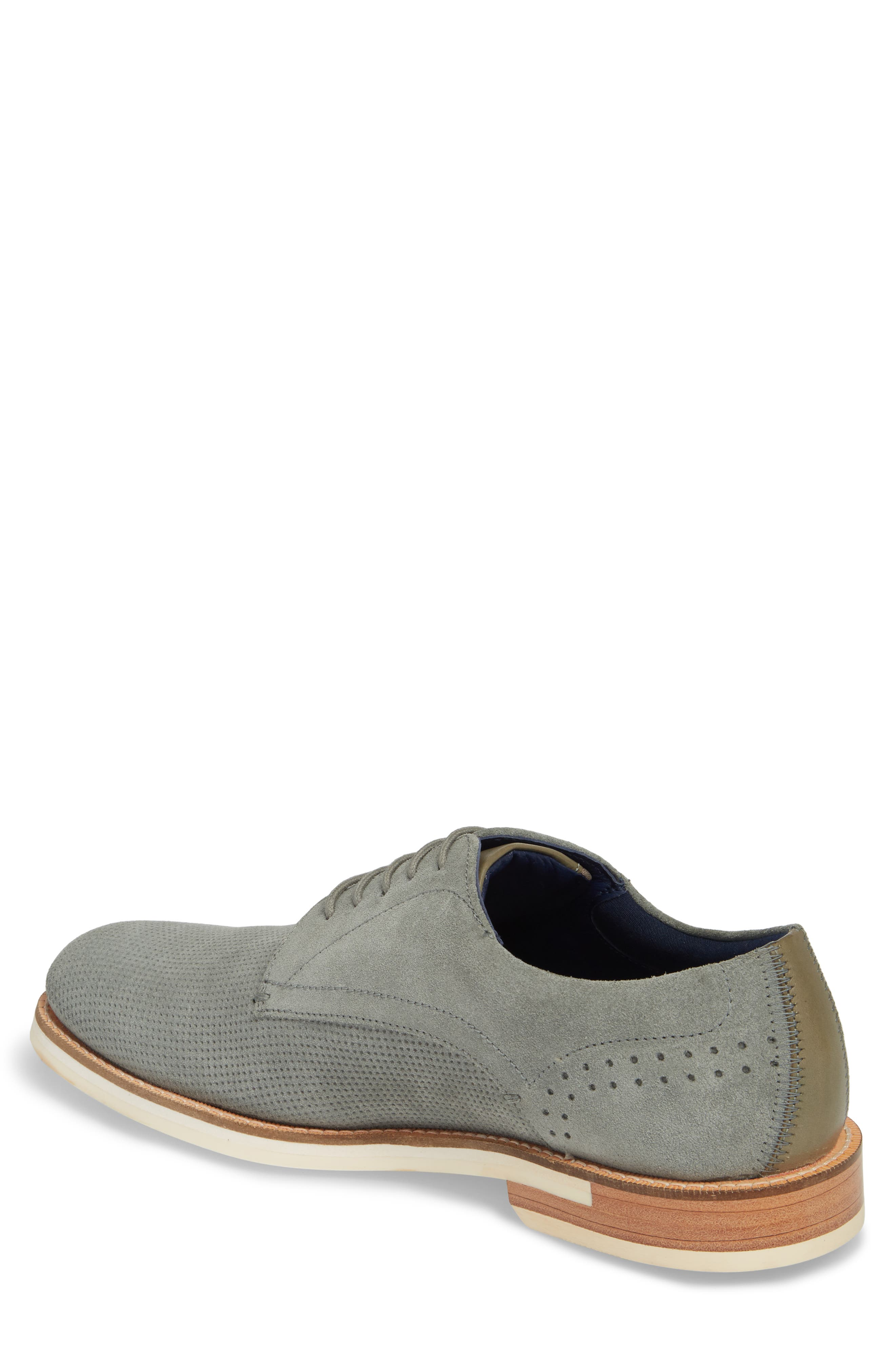 Lapiin Embossed Plain Toe Derby,                             Alternate thumbnail 2, color,                             Grey Suede