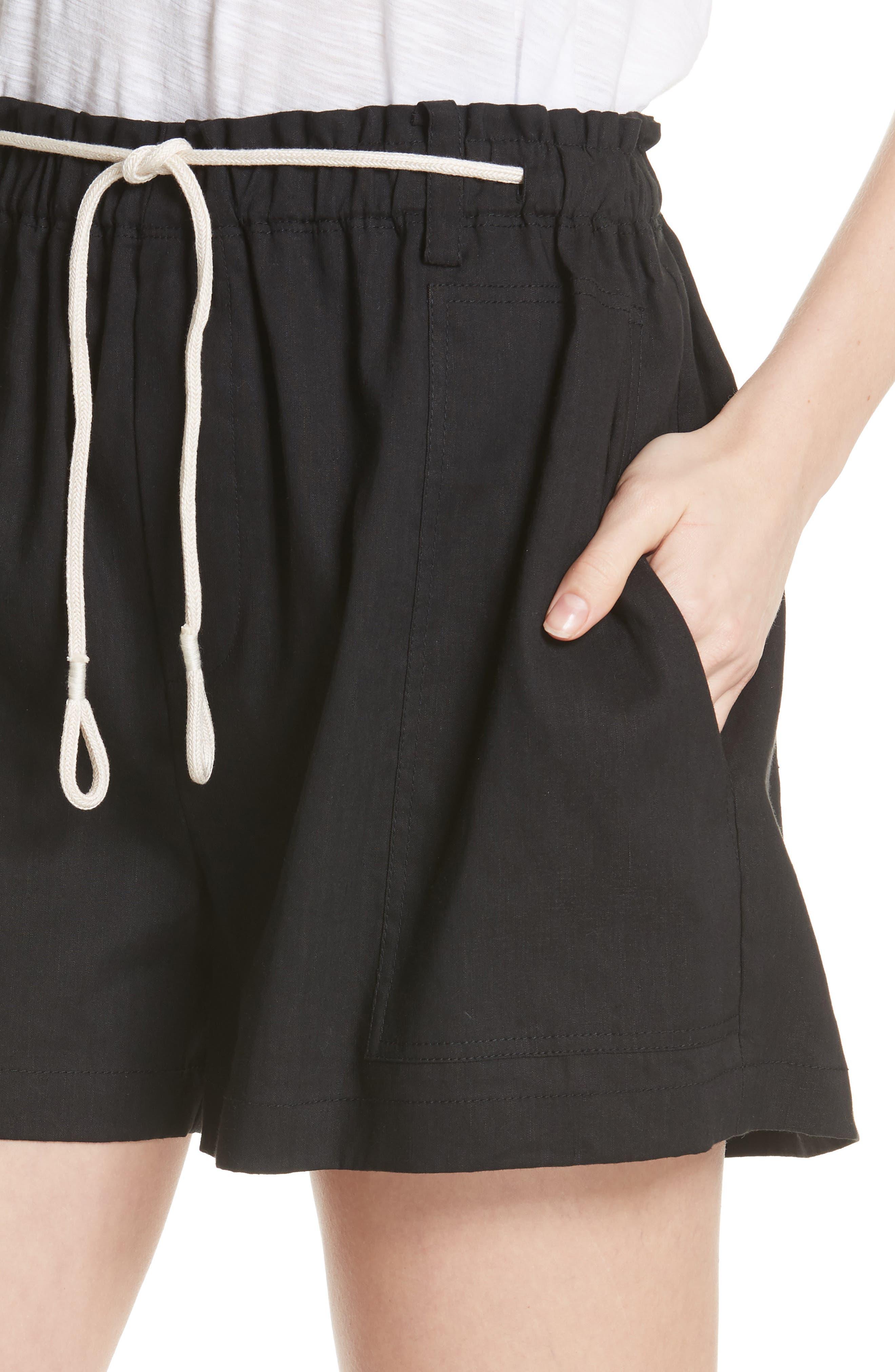 Rope Tie Linen Blend Shorts,                             Alternate thumbnail 4, color,                             Black