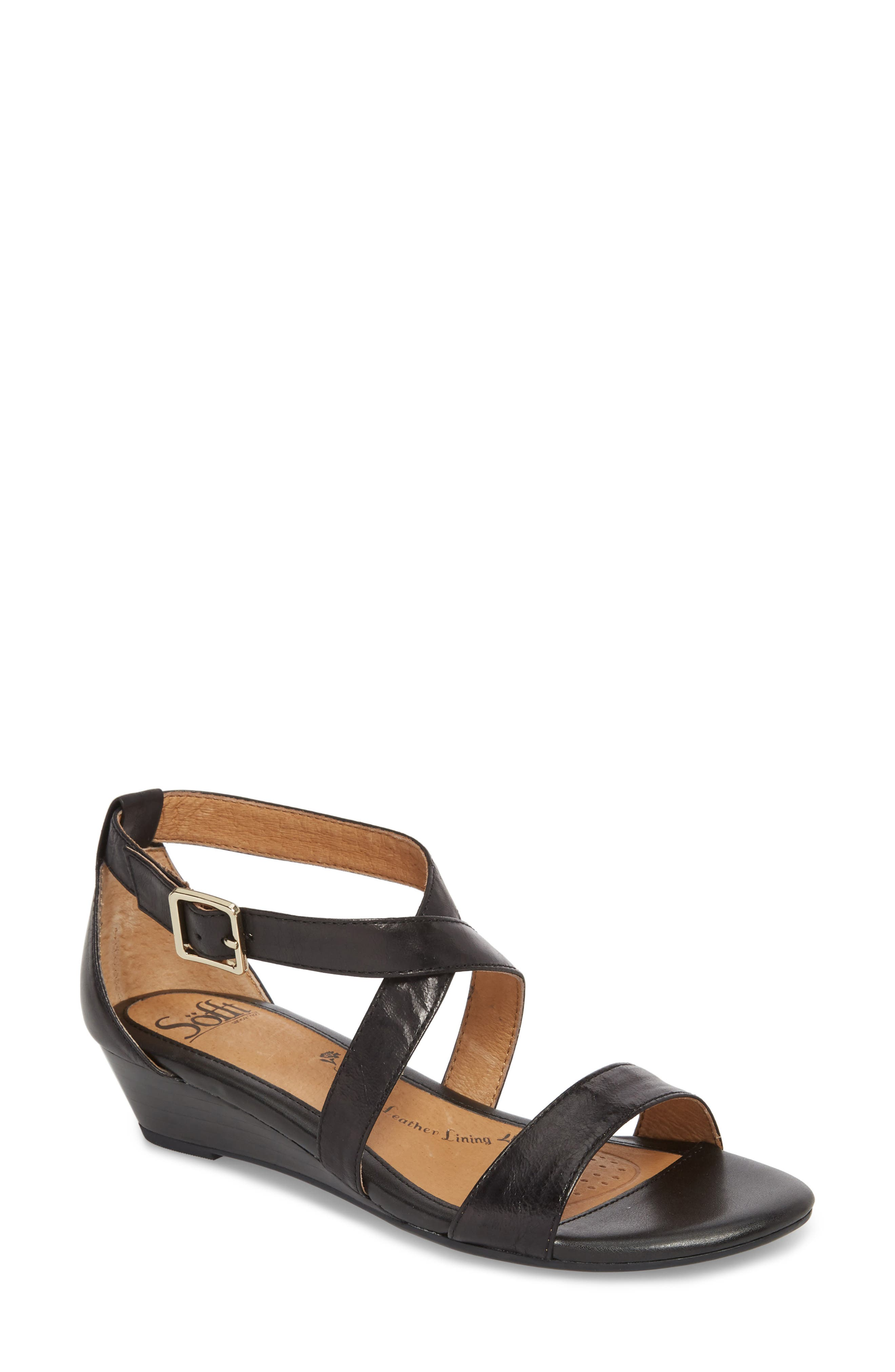 'Innis' Low Wedge Sandal,                             Main thumbnail 1, color,                             Black Leather