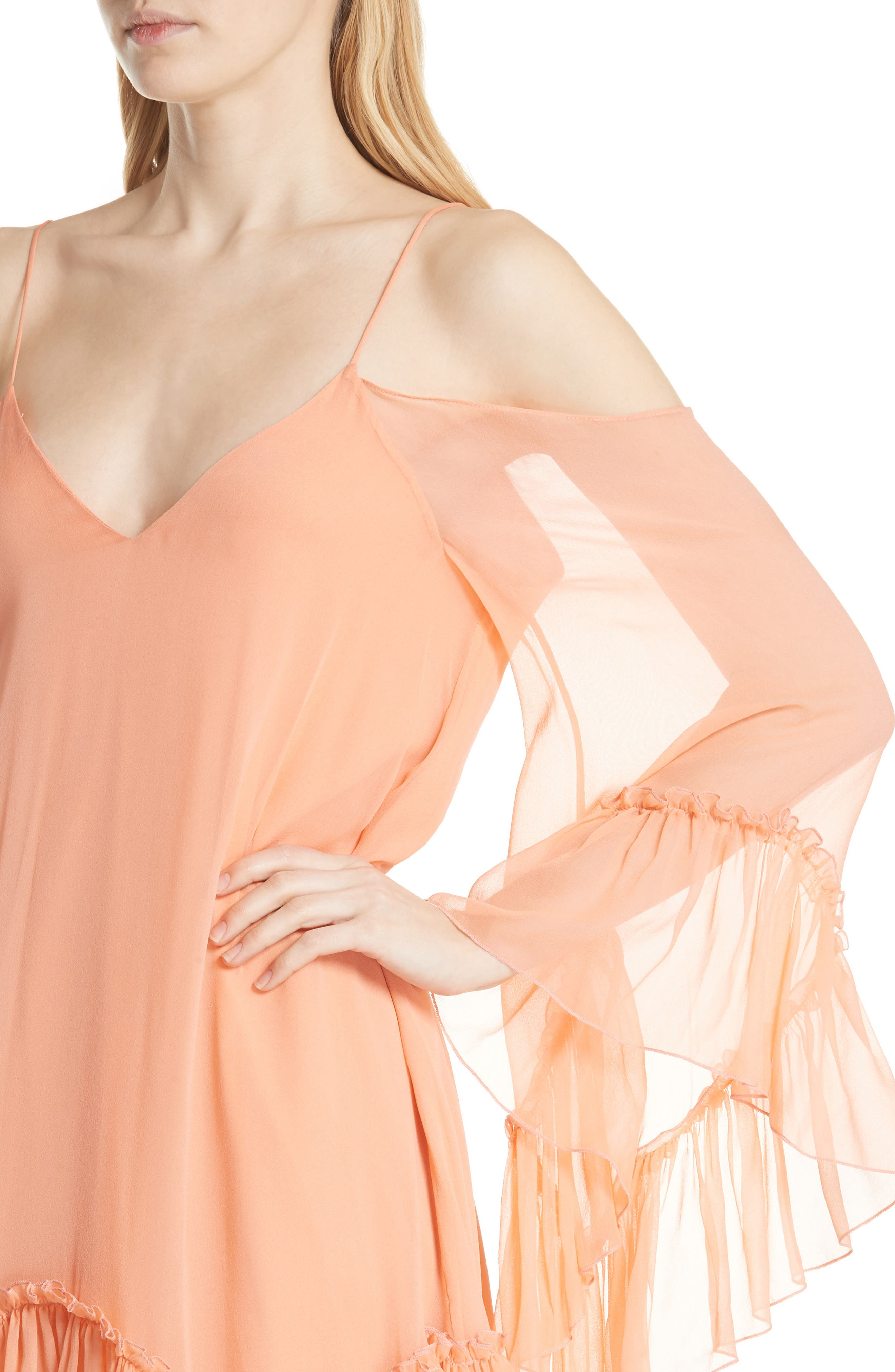 Ilaria Ruffle Cold Shoulder Silk Dress,                             Alternate thumbnail 4, color,                             Peach