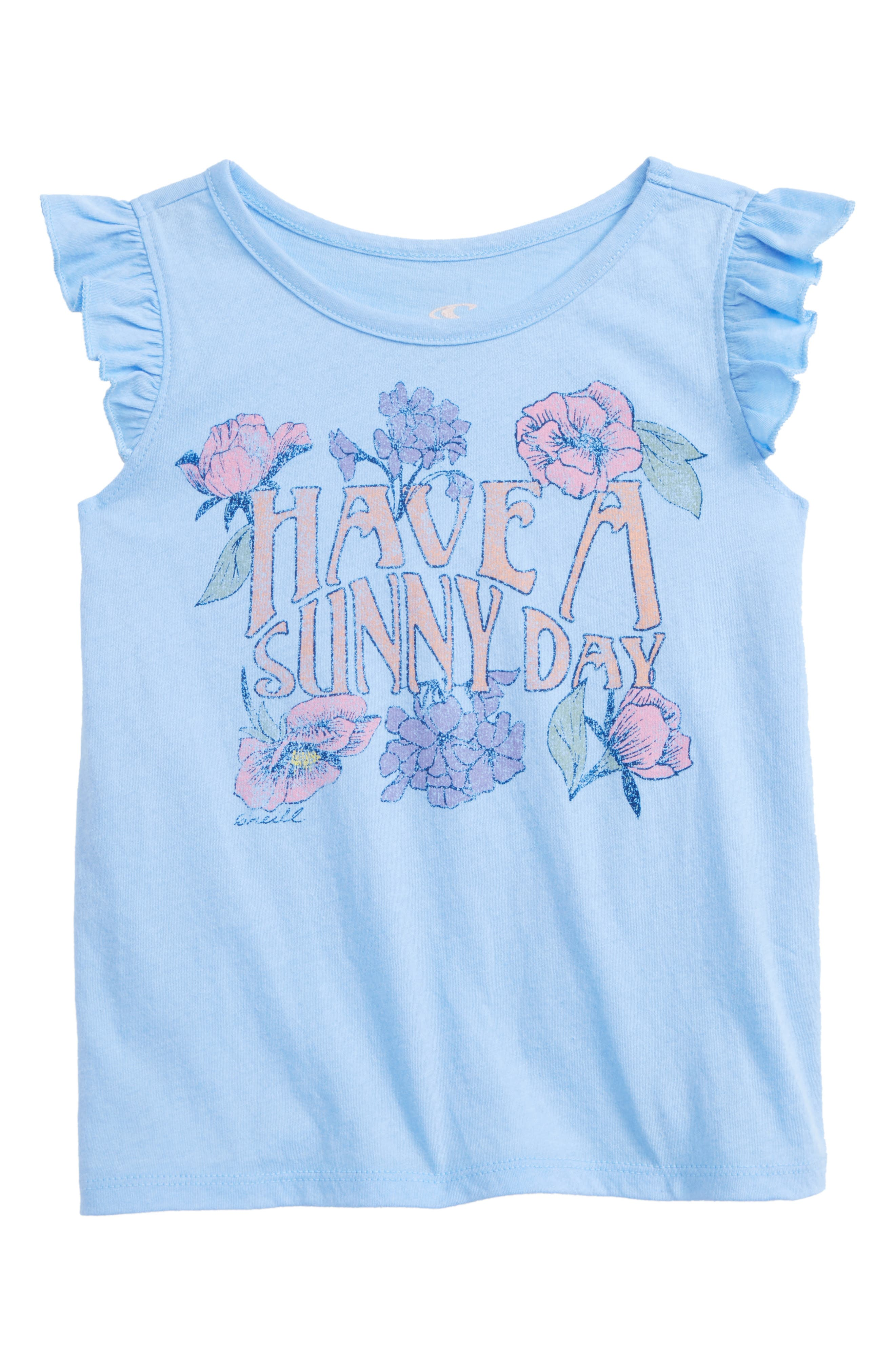 Sunday Ruffle Graphic Tank,                             Main thumbnail 1, color,                             Bleached Denim- Ctb
