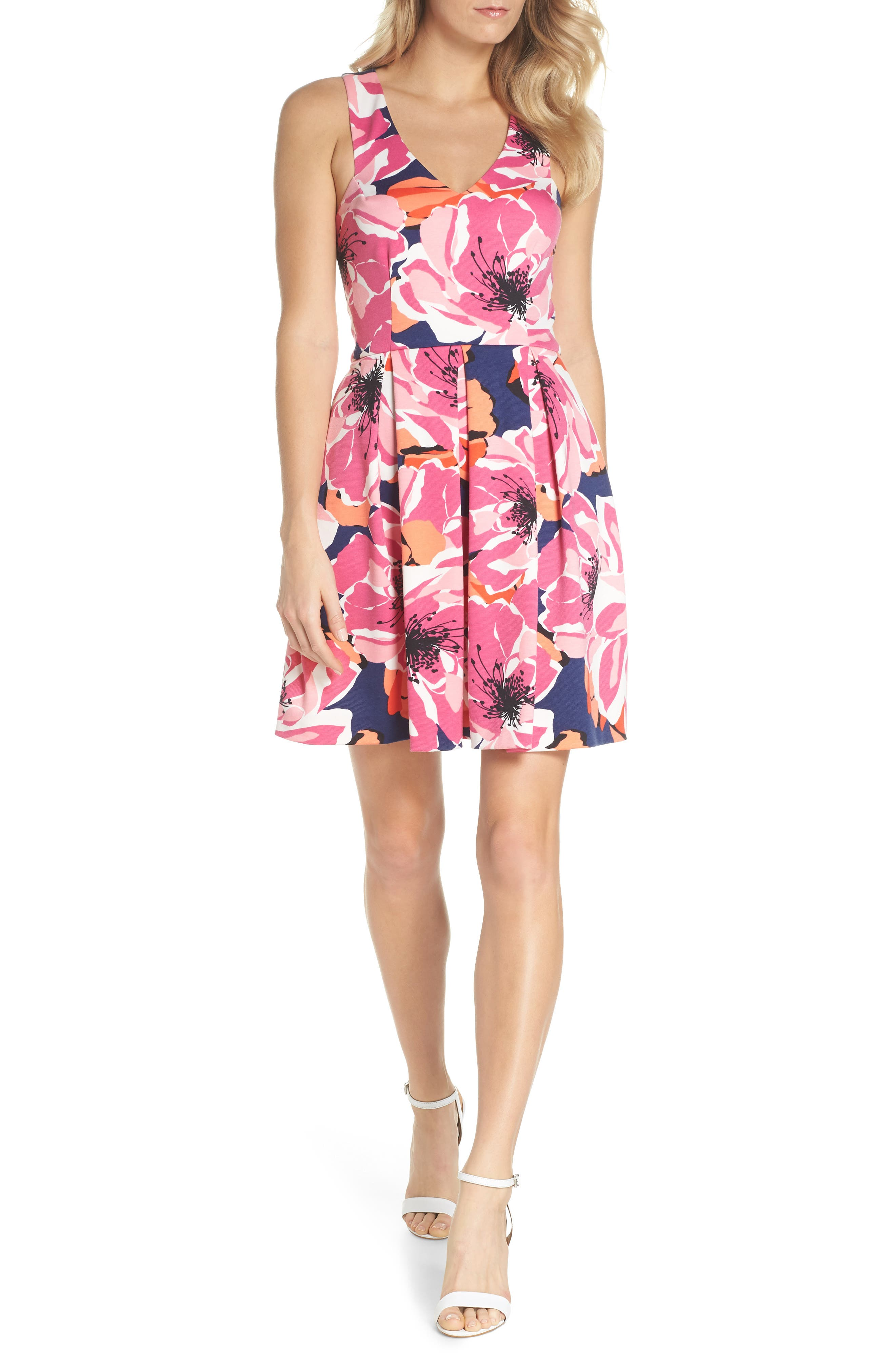 Marcia Sleeveless Fit & Flare Dress,                         Main,                         color, Multi