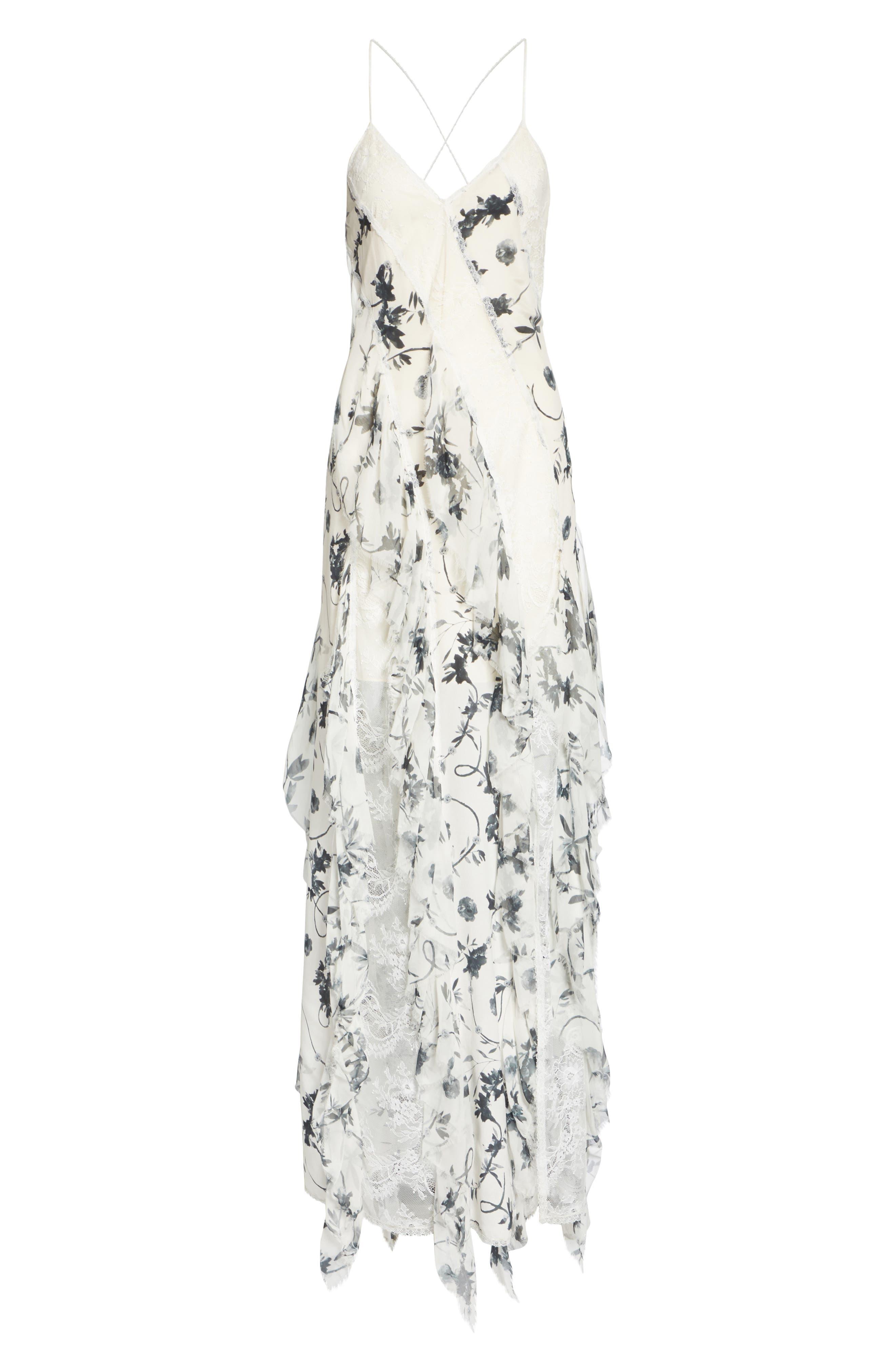 Jayda Godet Lace Inset Silk Maxi Dress,                             Alternate thumbnail 6, color,                             Floral Crown