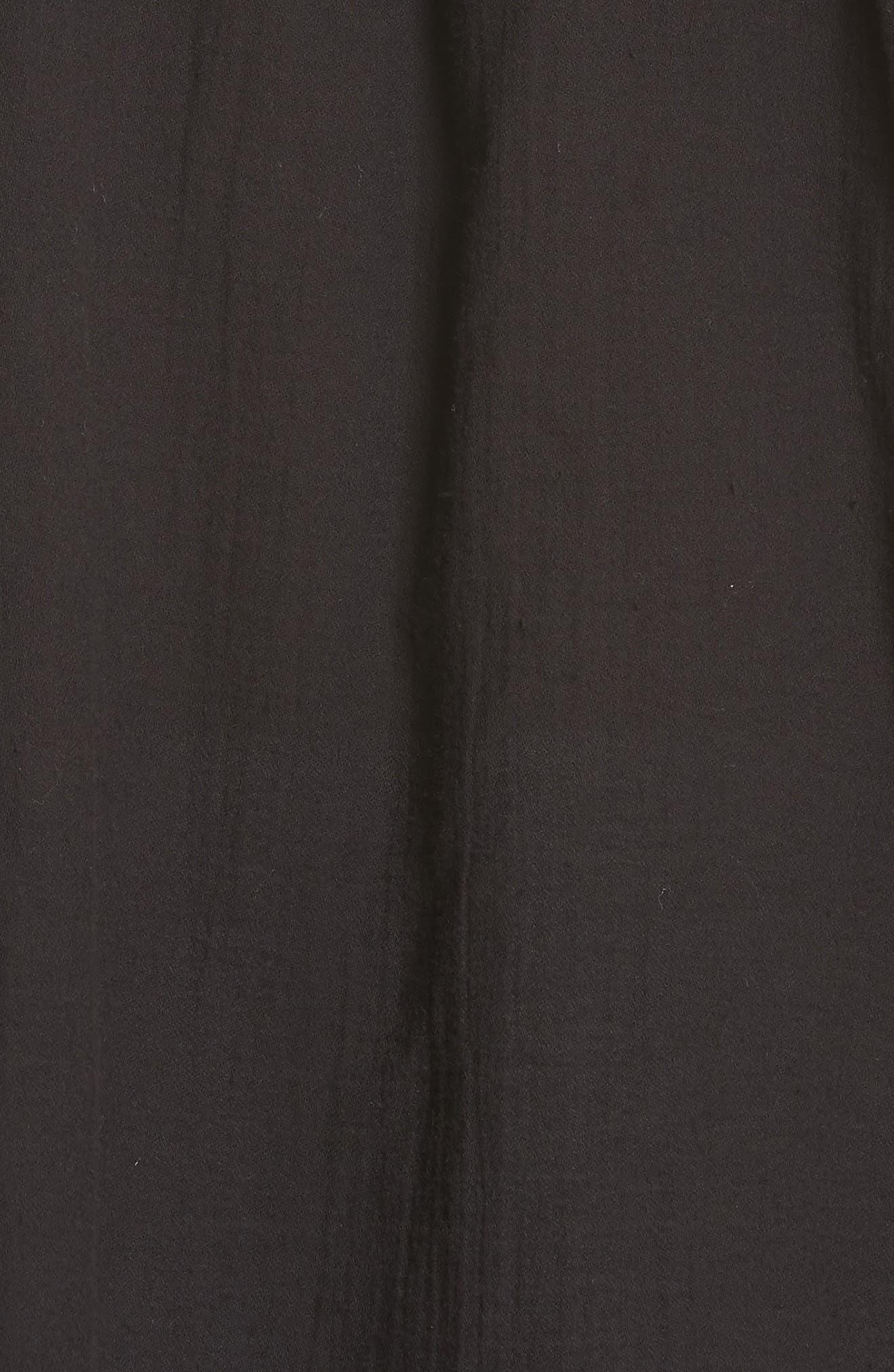 Topstitch Crinkle Cotton Top,                             Alternate thumbnail 5, color,                             Black