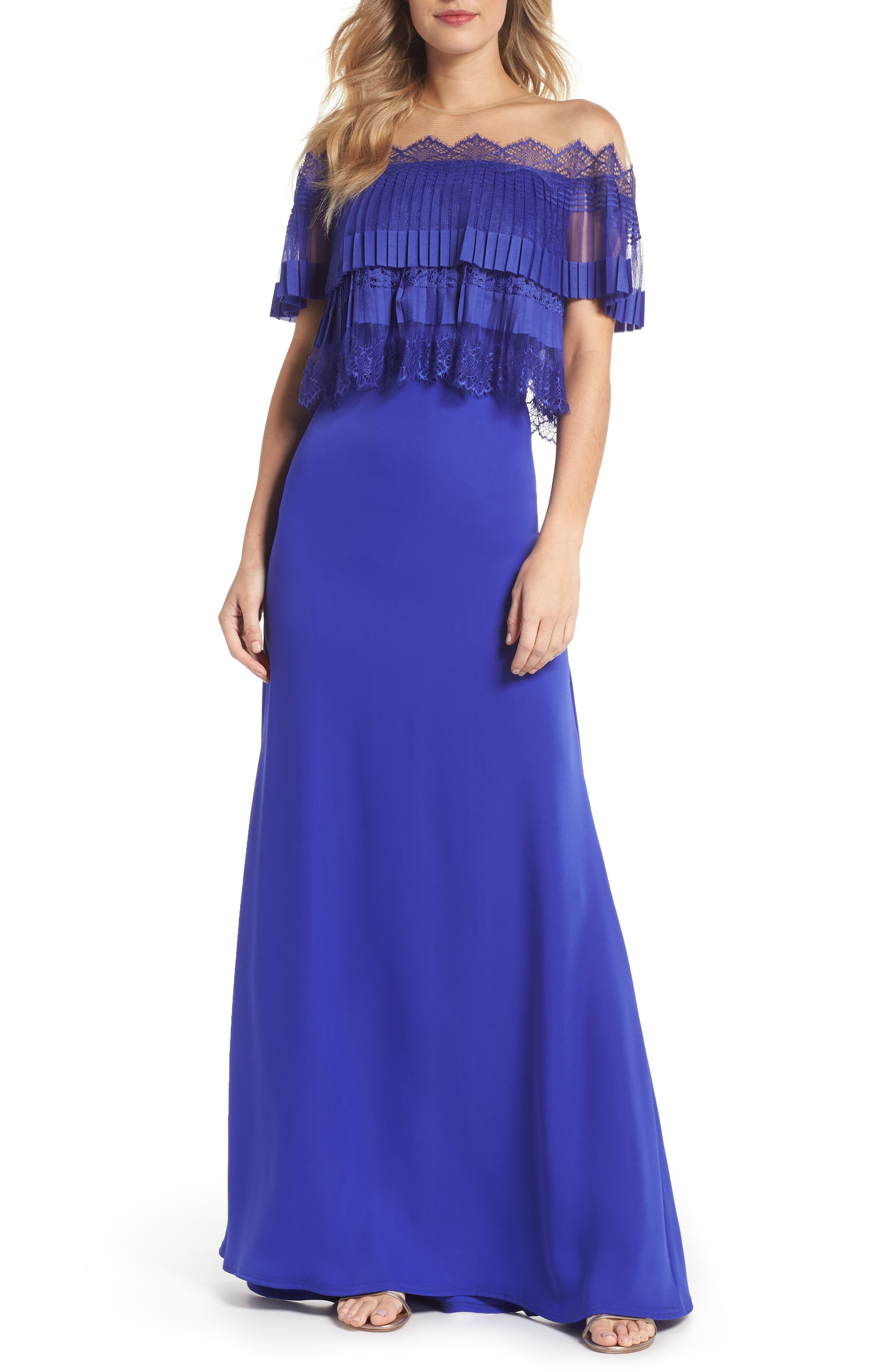 Off-the-Shoulder Lace & Crepe Gown,                             Main thumbnail 1, color,                             Royal Iris